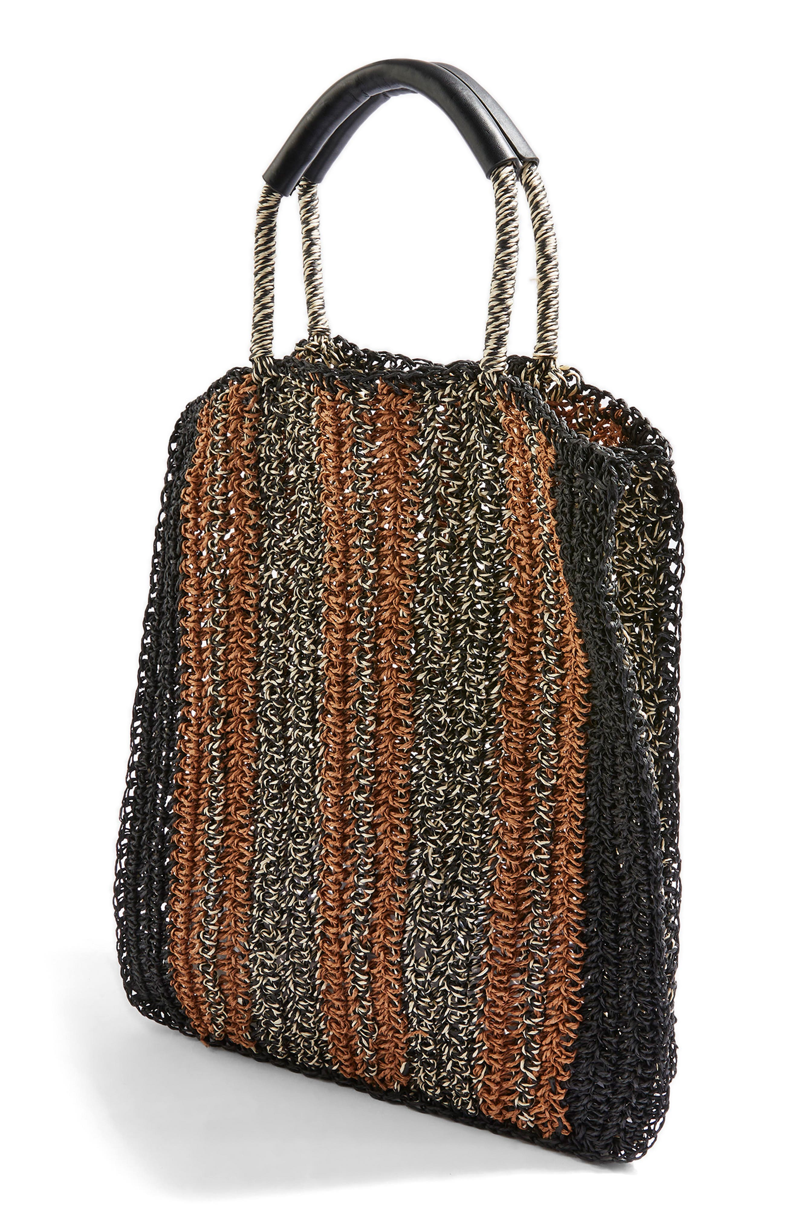 Bath Stripe Straw Tote Bag,                             Alternate thumbnail 3, color,                             Black Multi