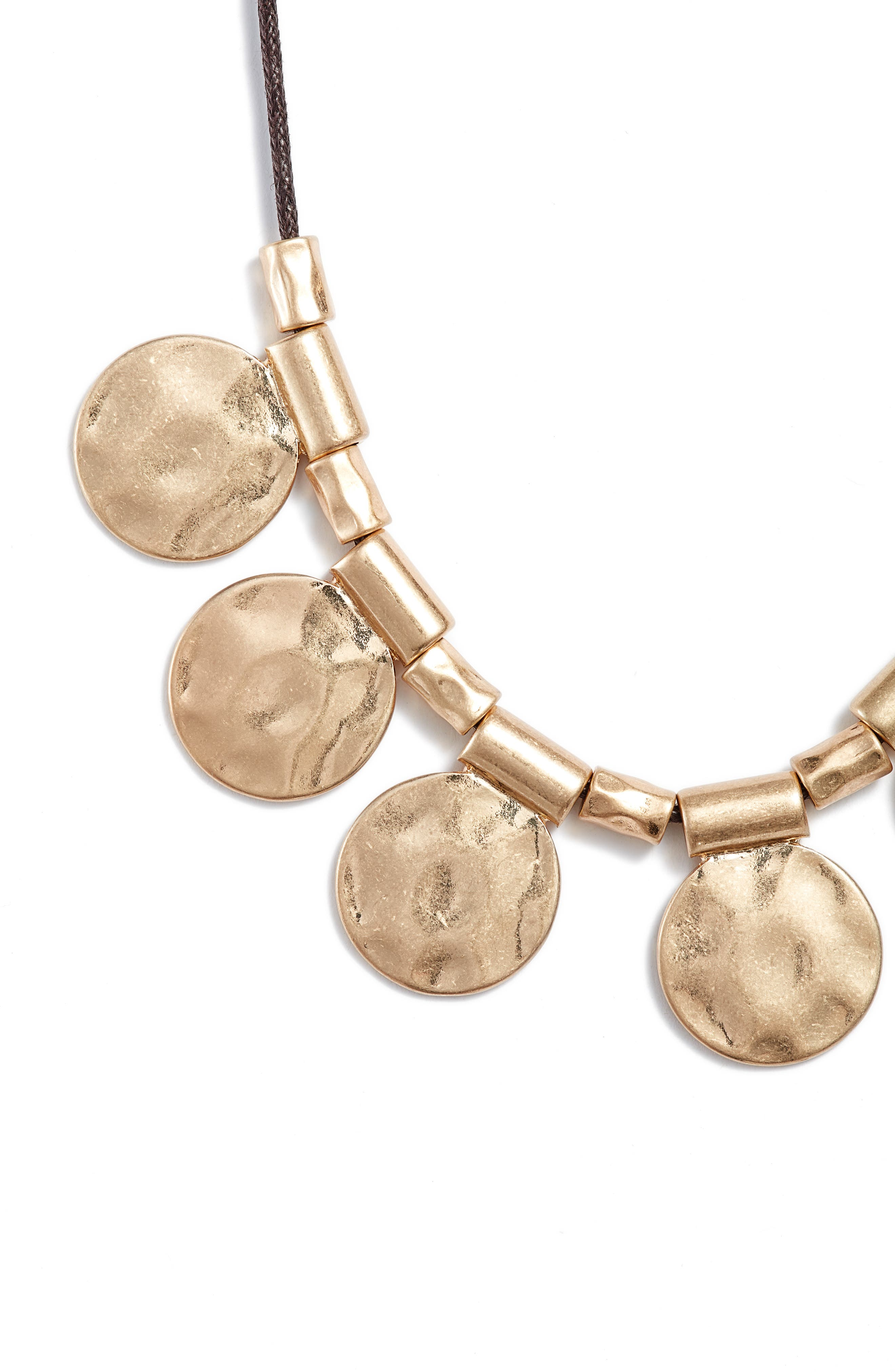 Organic Summer Metals Sliding Disc Necklace,                             Alternate thumbnail 2, color,                             Brown- Gold