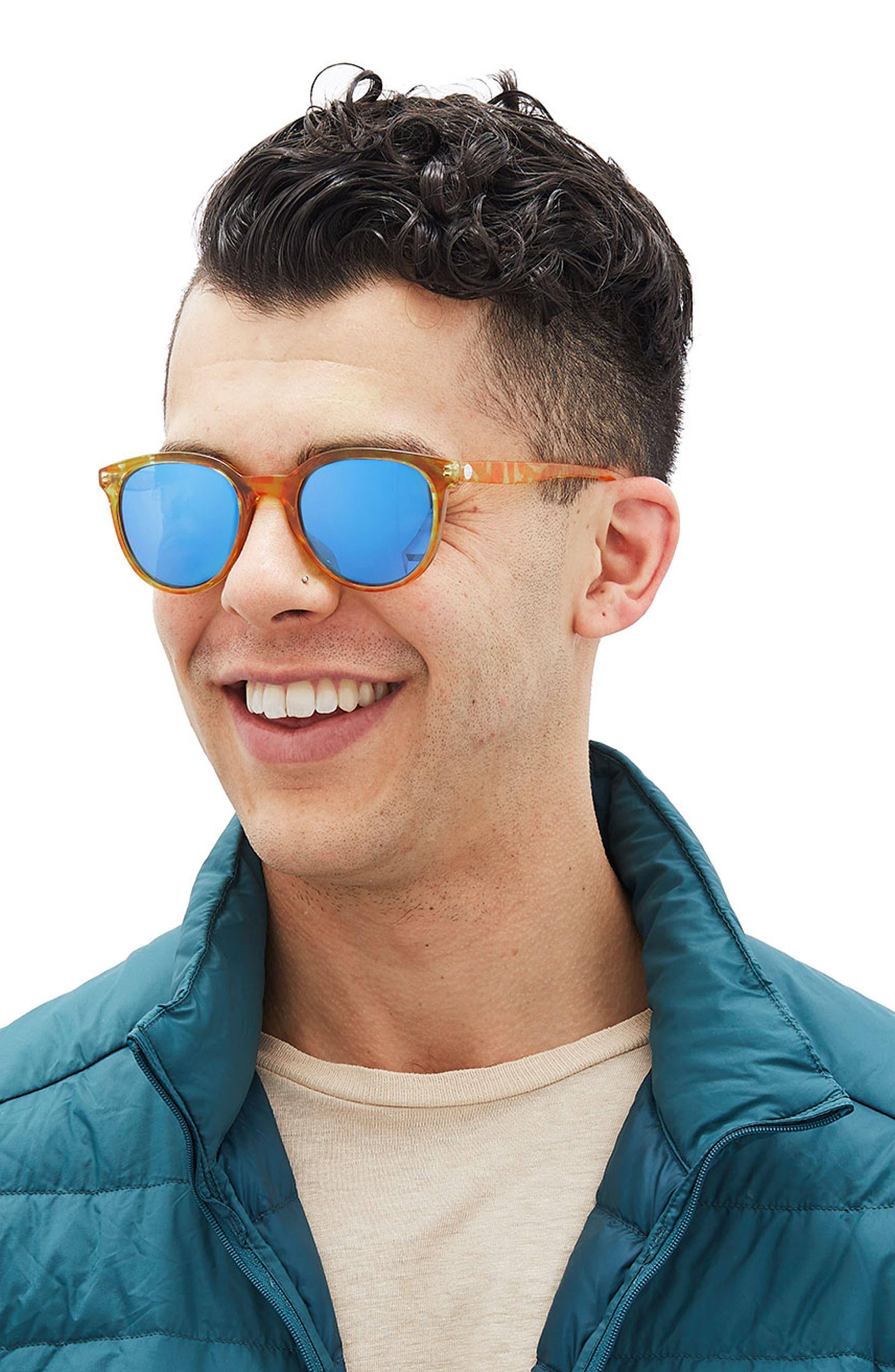Makani 51mm Mirrored Polarized Sunglasses,                             Alternate thumbnail 3, color,                             Blond Tortoise/ Aqua