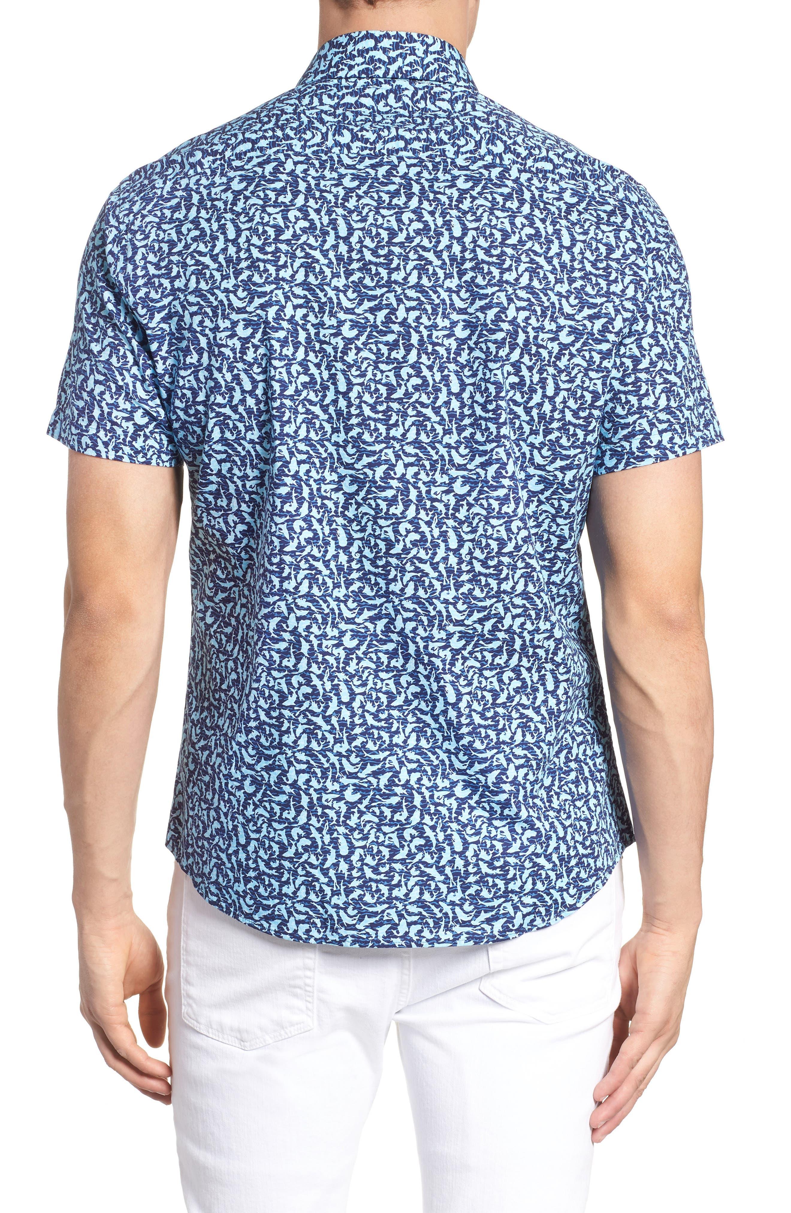 Slim Fit Shark Print Sport Shirt,                             Alternate thumbnail 3, color,                             Turquoise