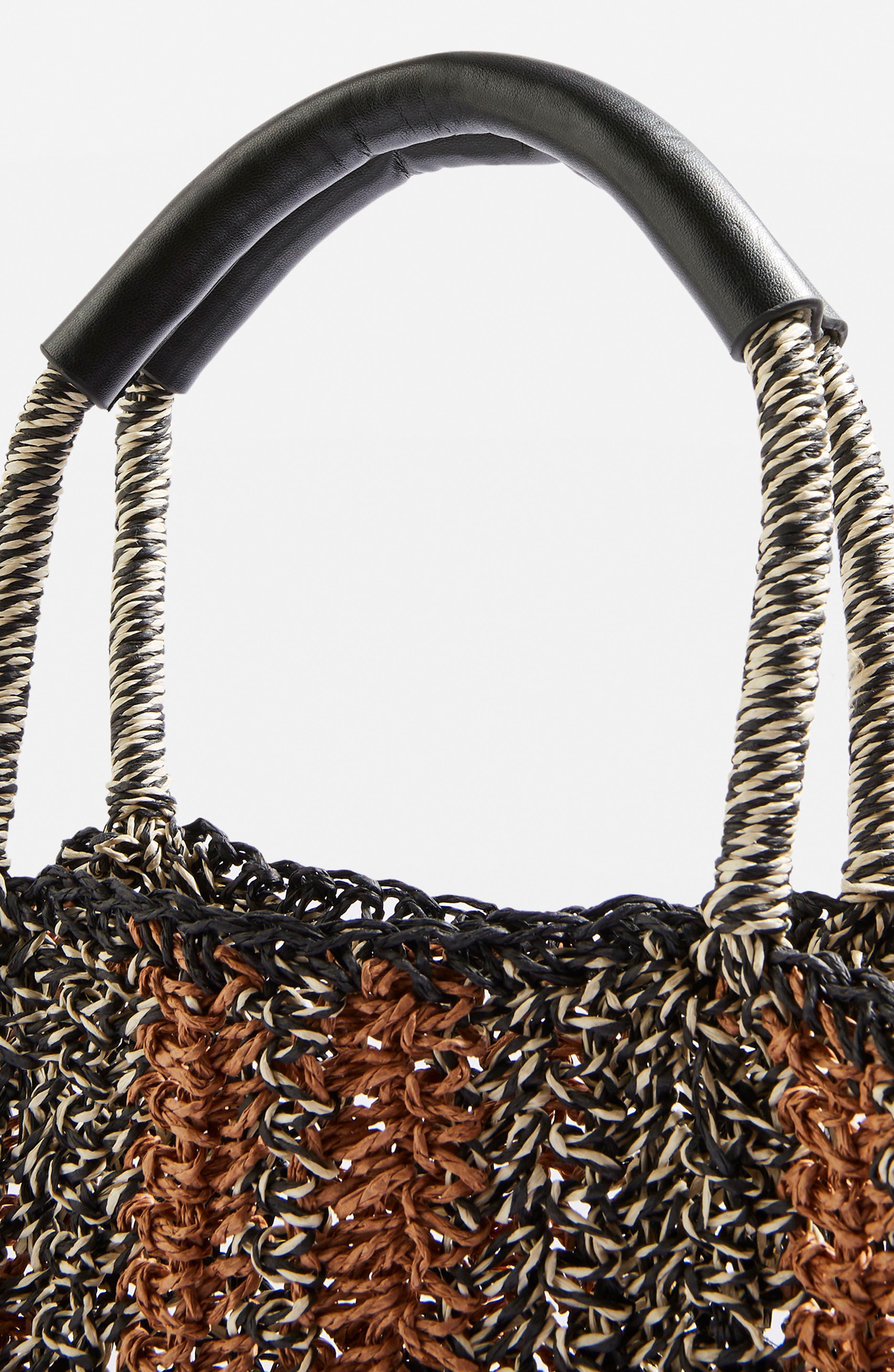 Bath Stripe Straw Tote Bag,                             Alternate thumbnail 4, color,                             Black Multi