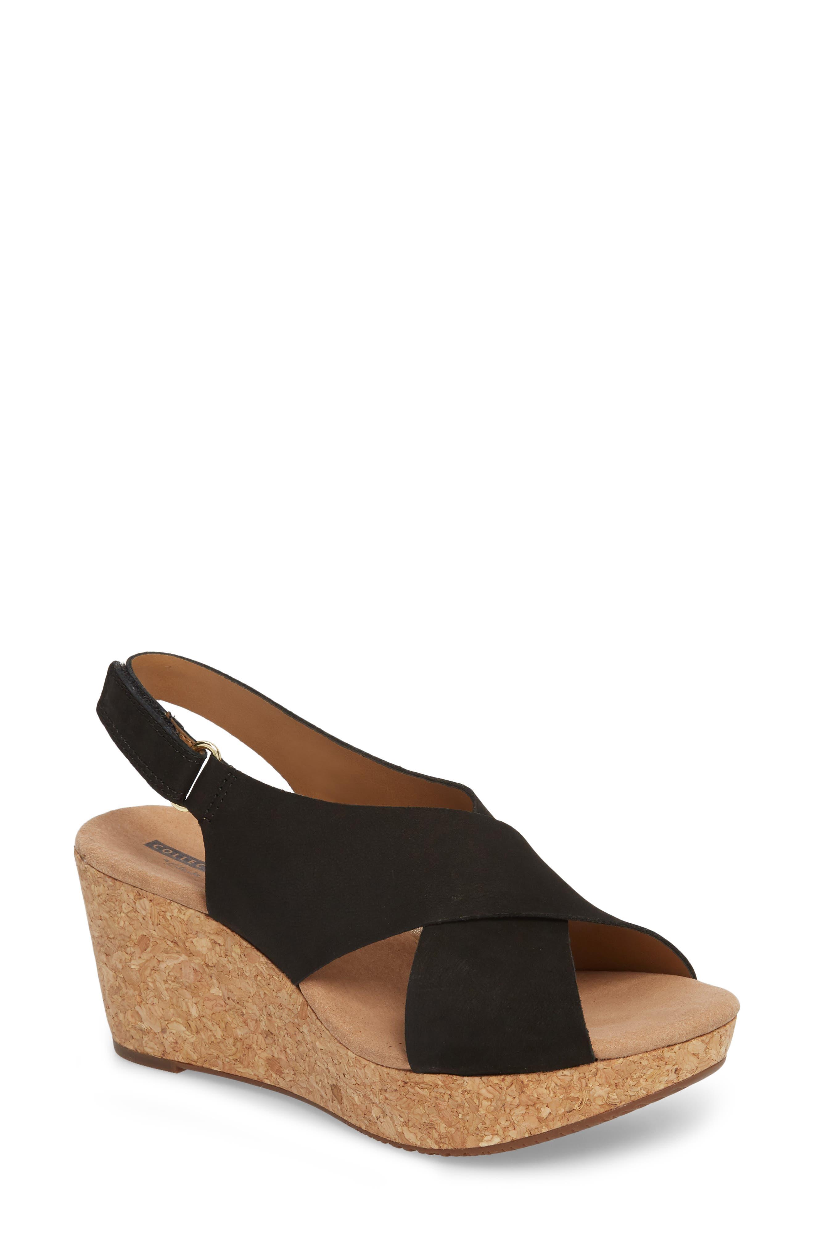 Annadel Eirwyn Wedge Sandal,                         Main,                         color, Black Nubuck