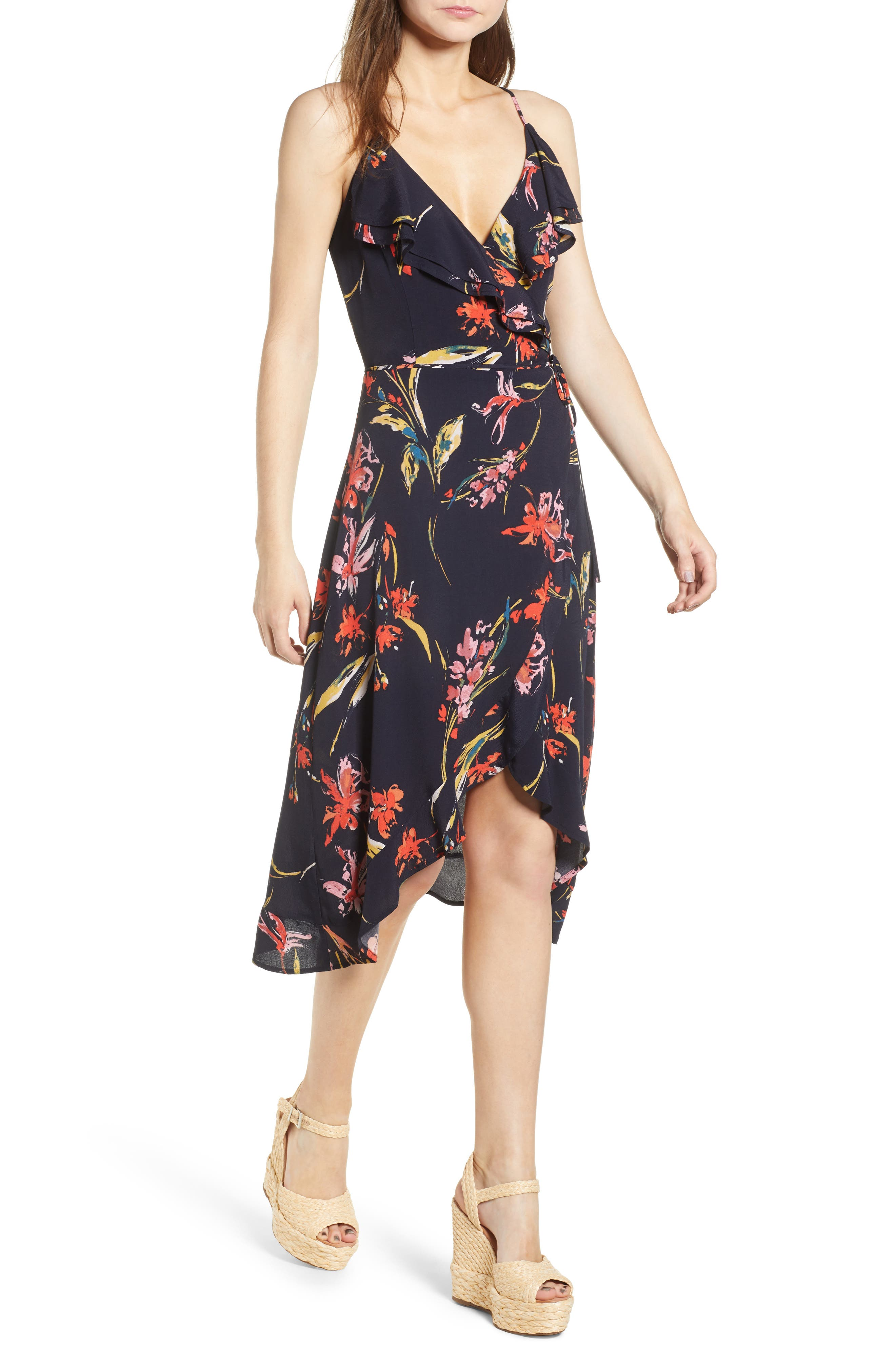 Flounce Wrap Midi Dress,                             Main thumbnail 1, color,                             Navy Night Dancing Floral