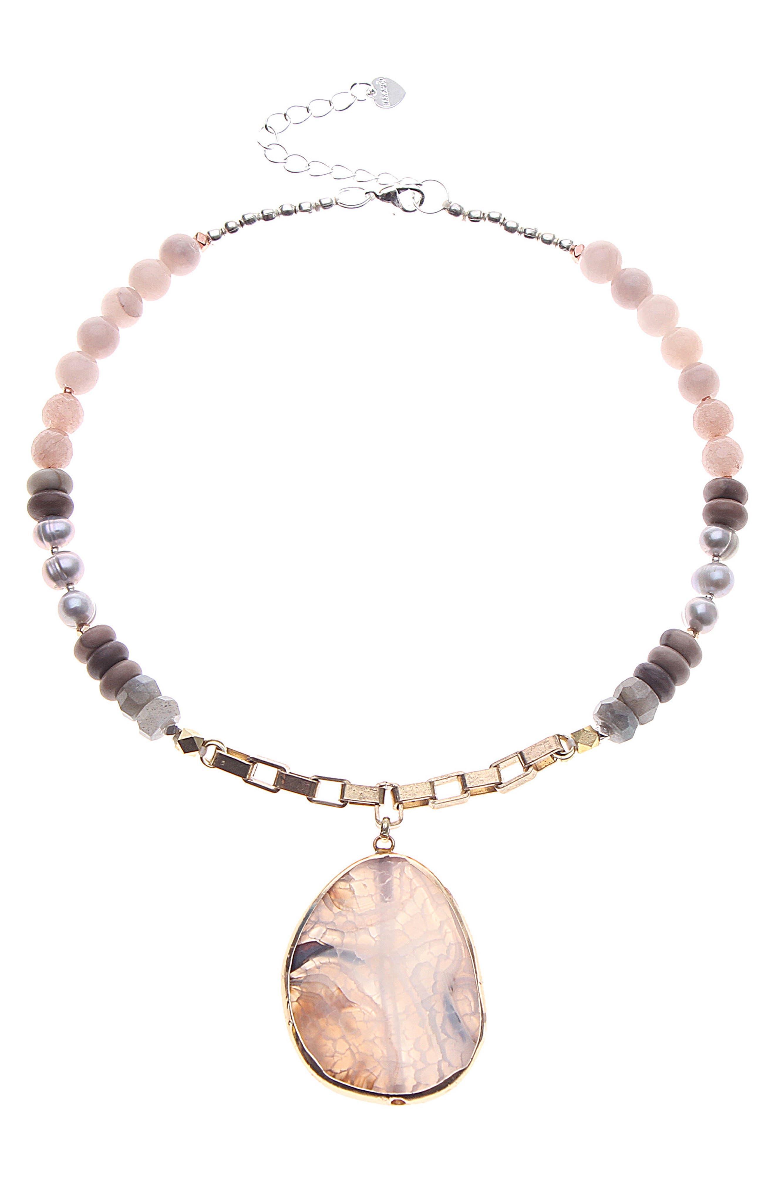 Semiprecious Stone & Pearl Pendant Necklace,                         Main,                         color, Nude