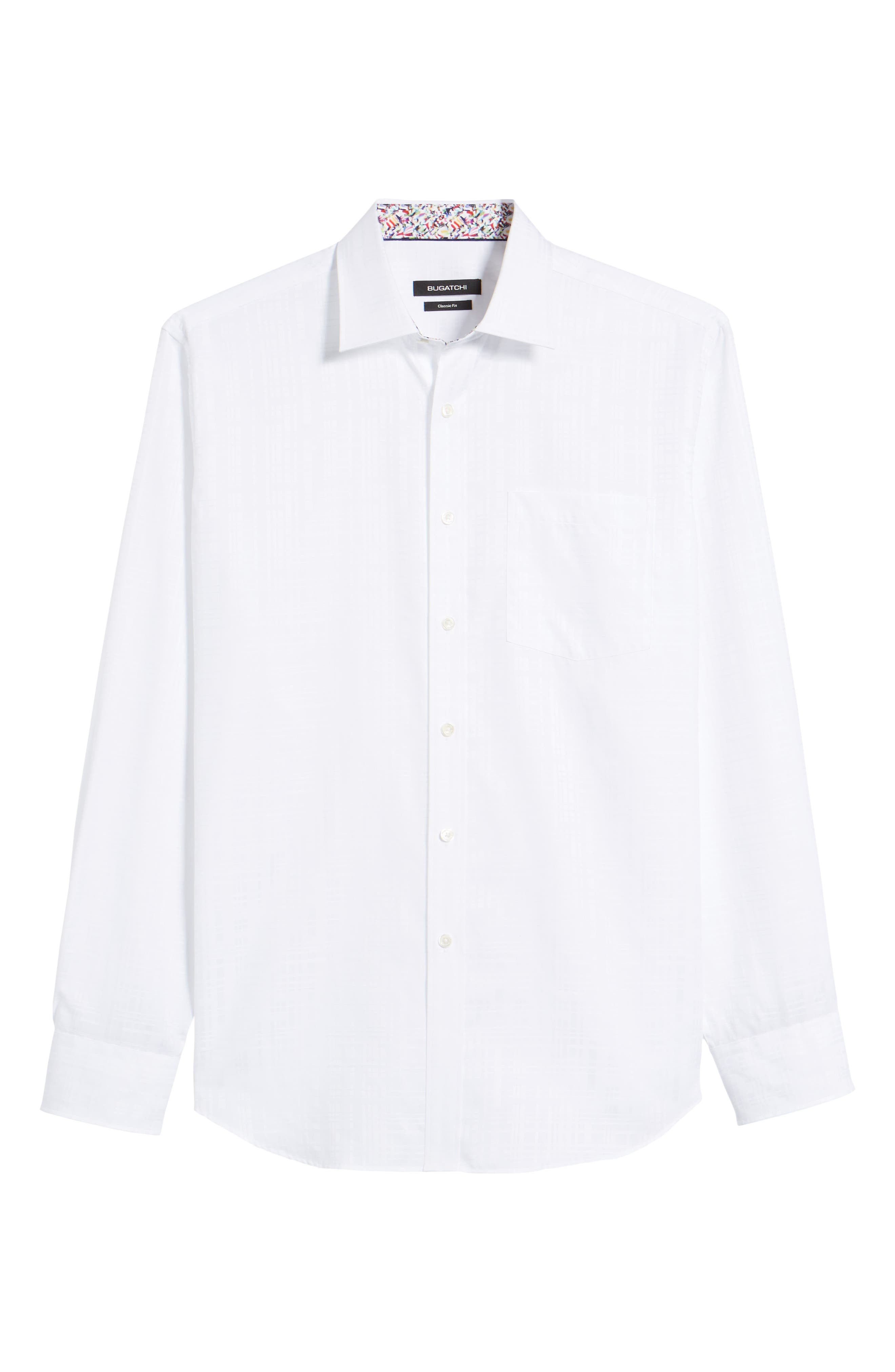 Classic Fit Tonal Check Sport Shirt,                             Alternate thumbnail 6, color,                             White
