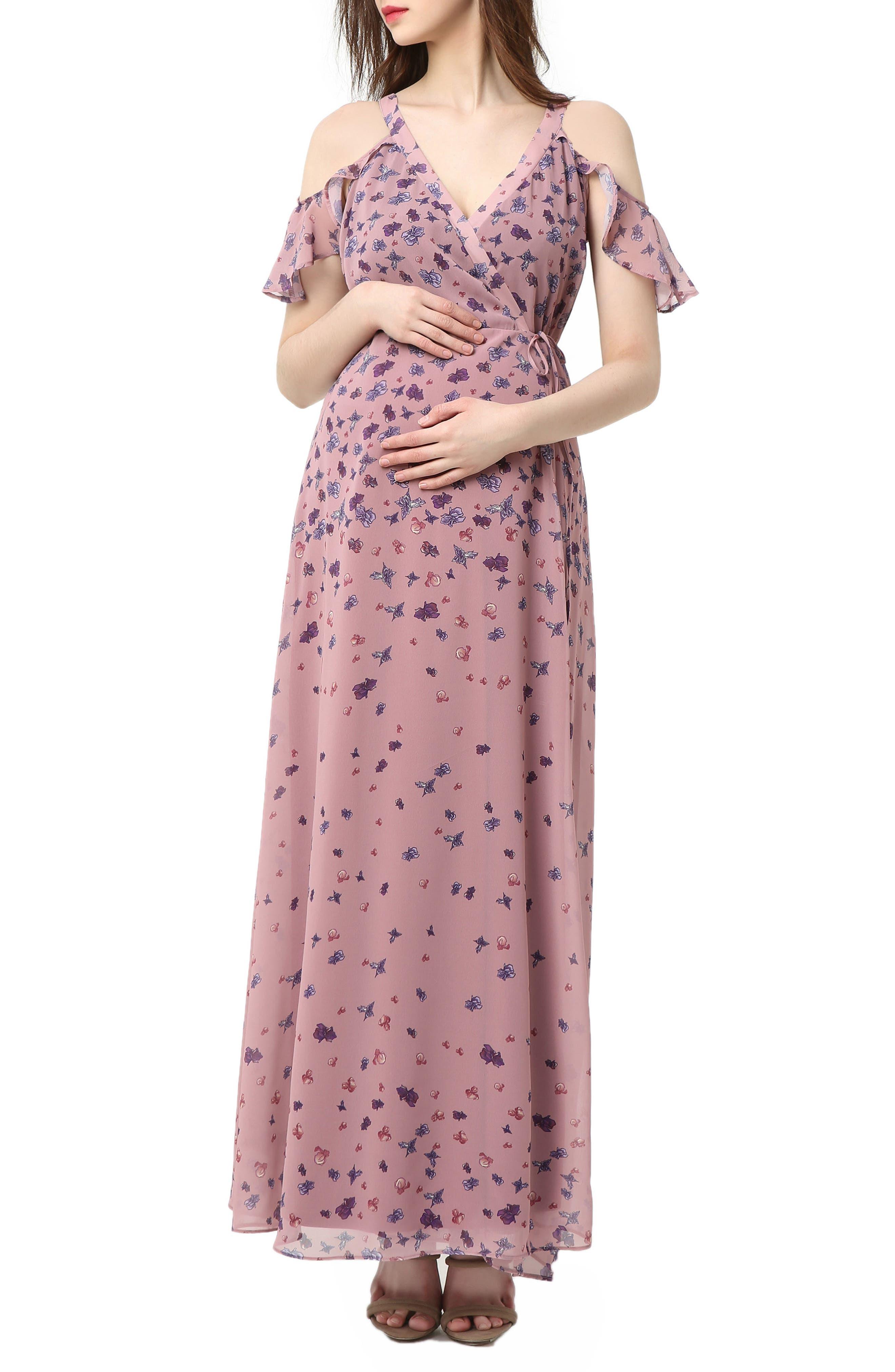 Catalina Cold Shoulder Wrap Maxi Maternity Dress,                         Main,                         color, Rose Pink