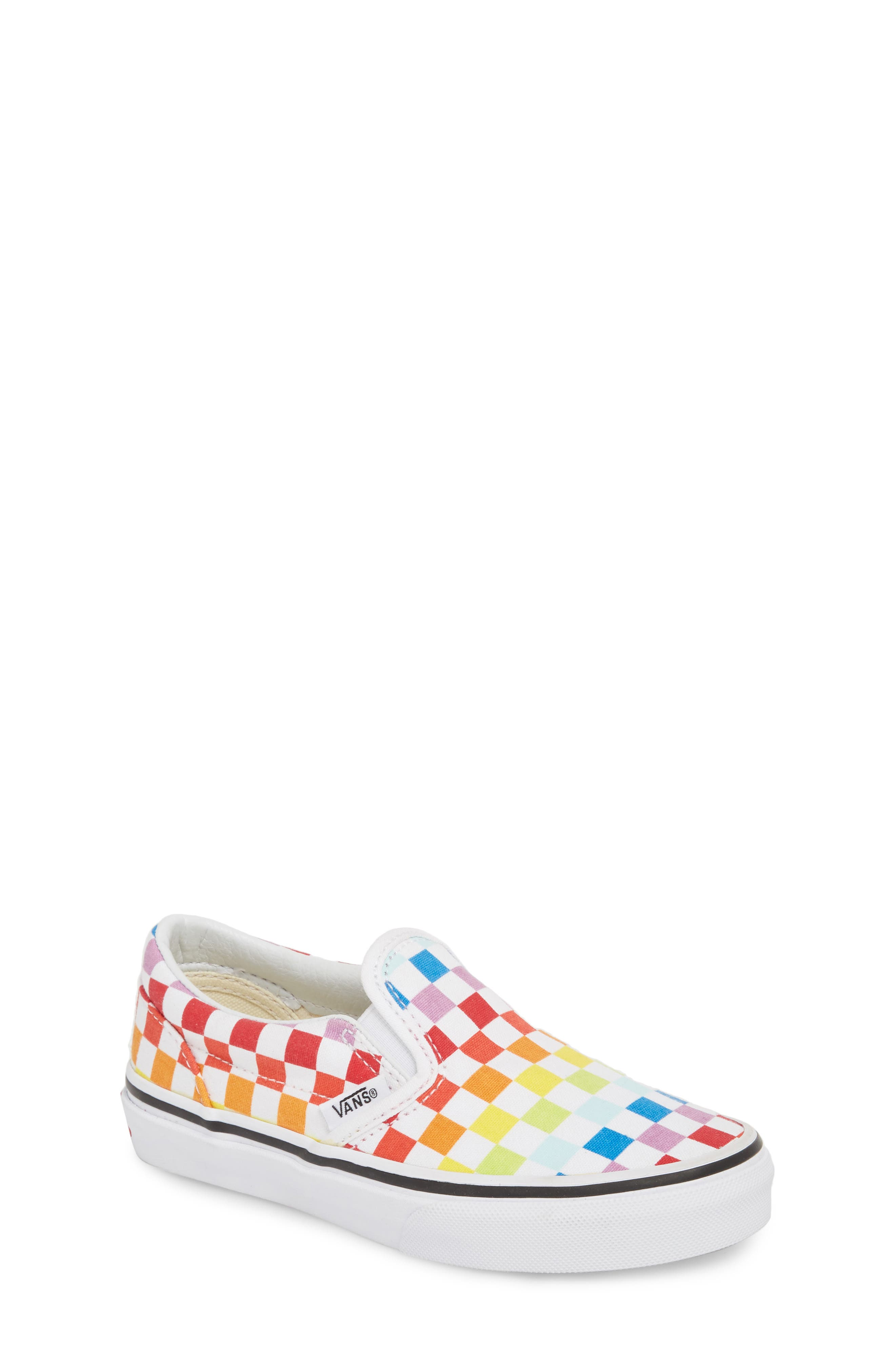 'Classic - Checker' Slip-On,                             Main thumbnail 1, color,                             Rainbow/ True White