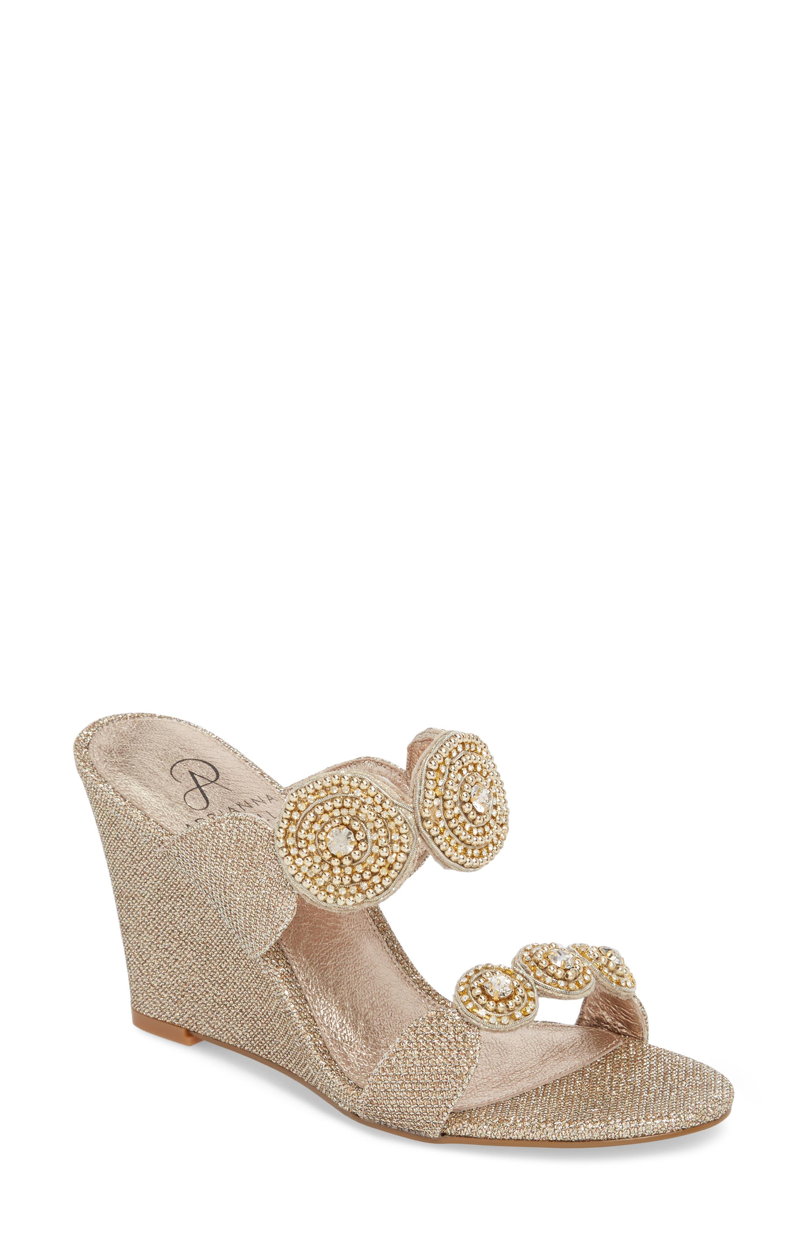 Argo Wedge Sandal,                         Main,                         color, Platinum Fabric