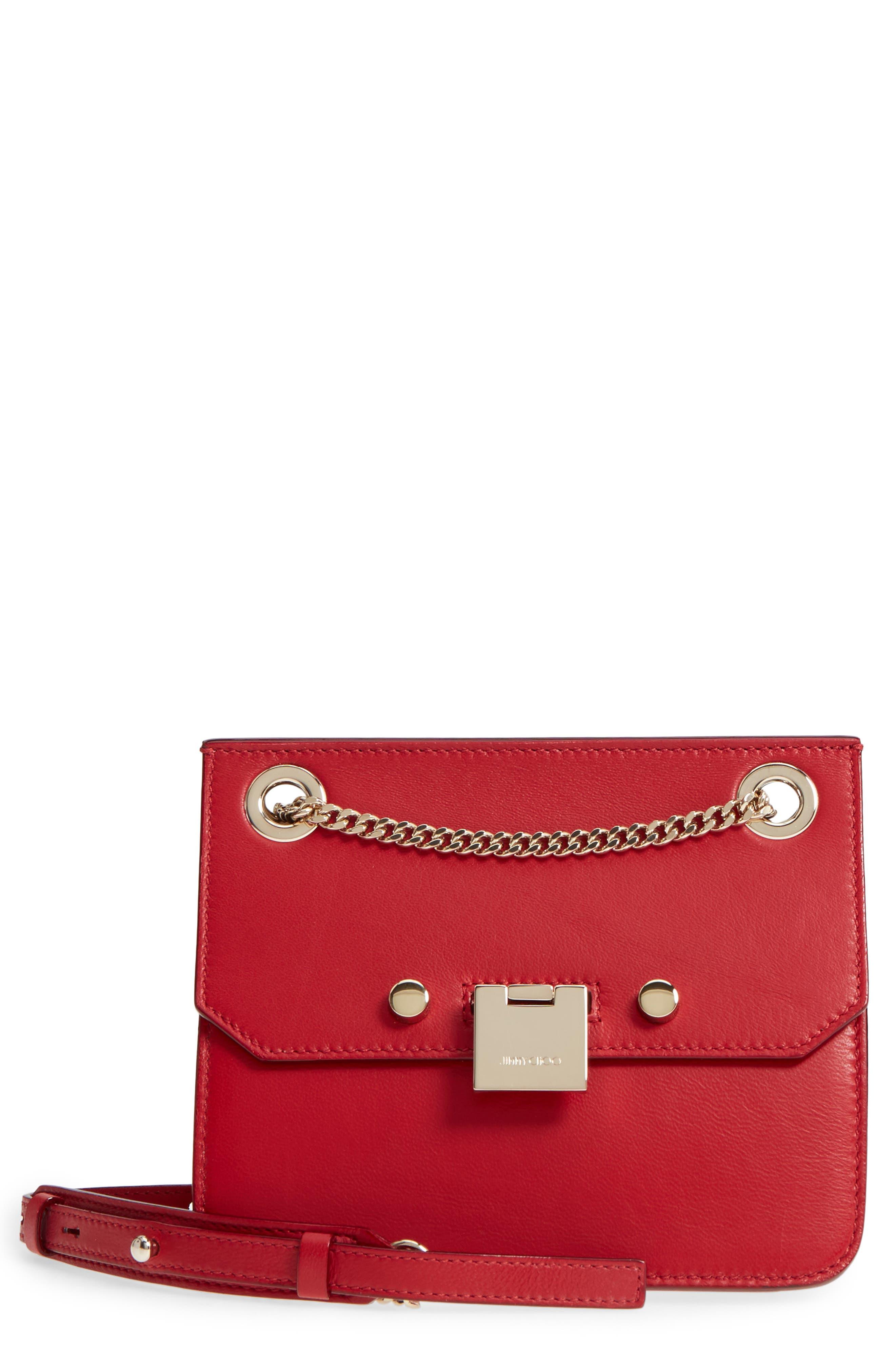 Rebel Mini Colorblock Leather Crossbody Bag,                         Main,                         color, Red/ Rosewater