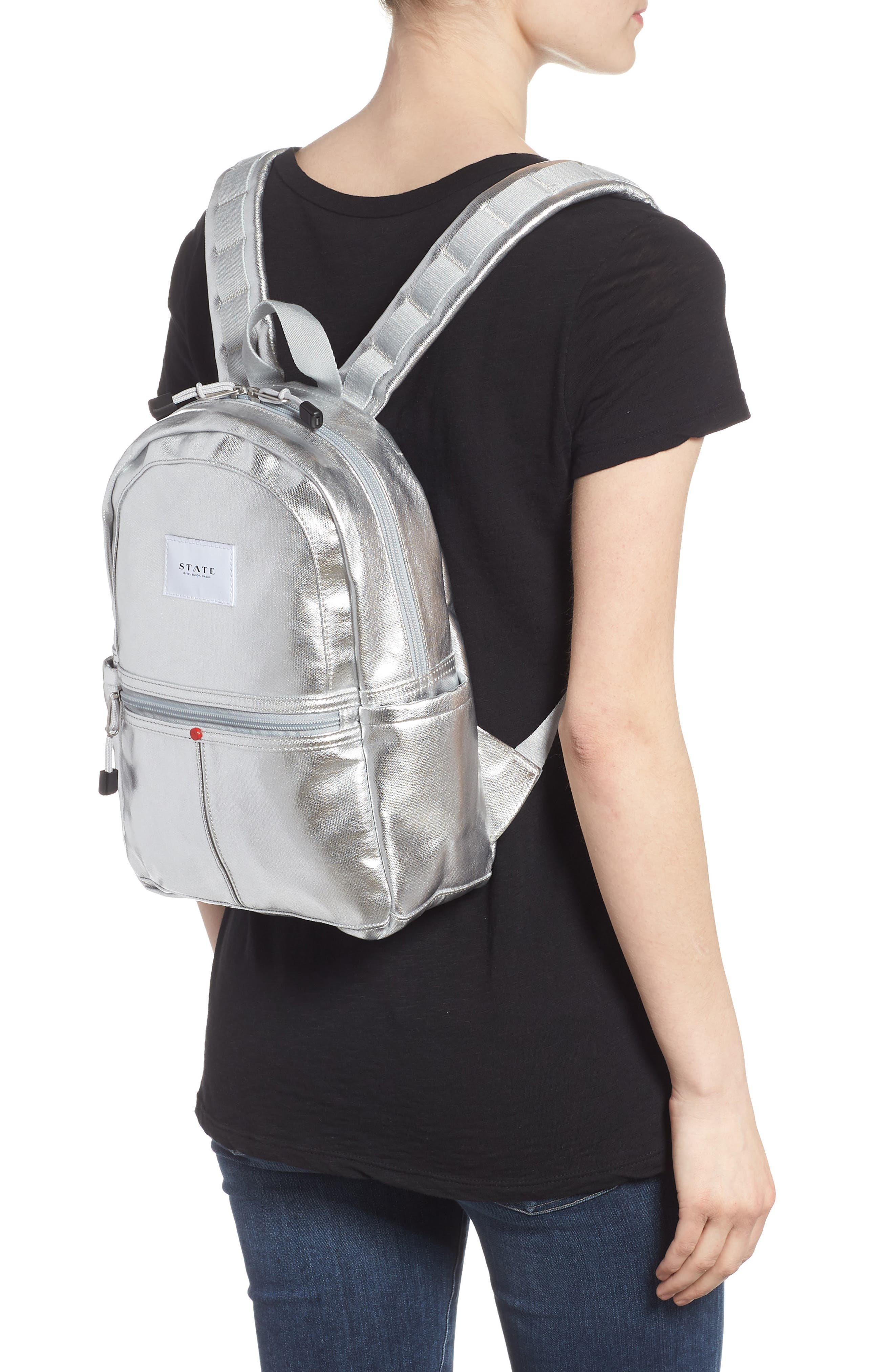Downtown Mini Kane Canvas Backpack,                             Alternate thumbnail 2, color,                             Silver