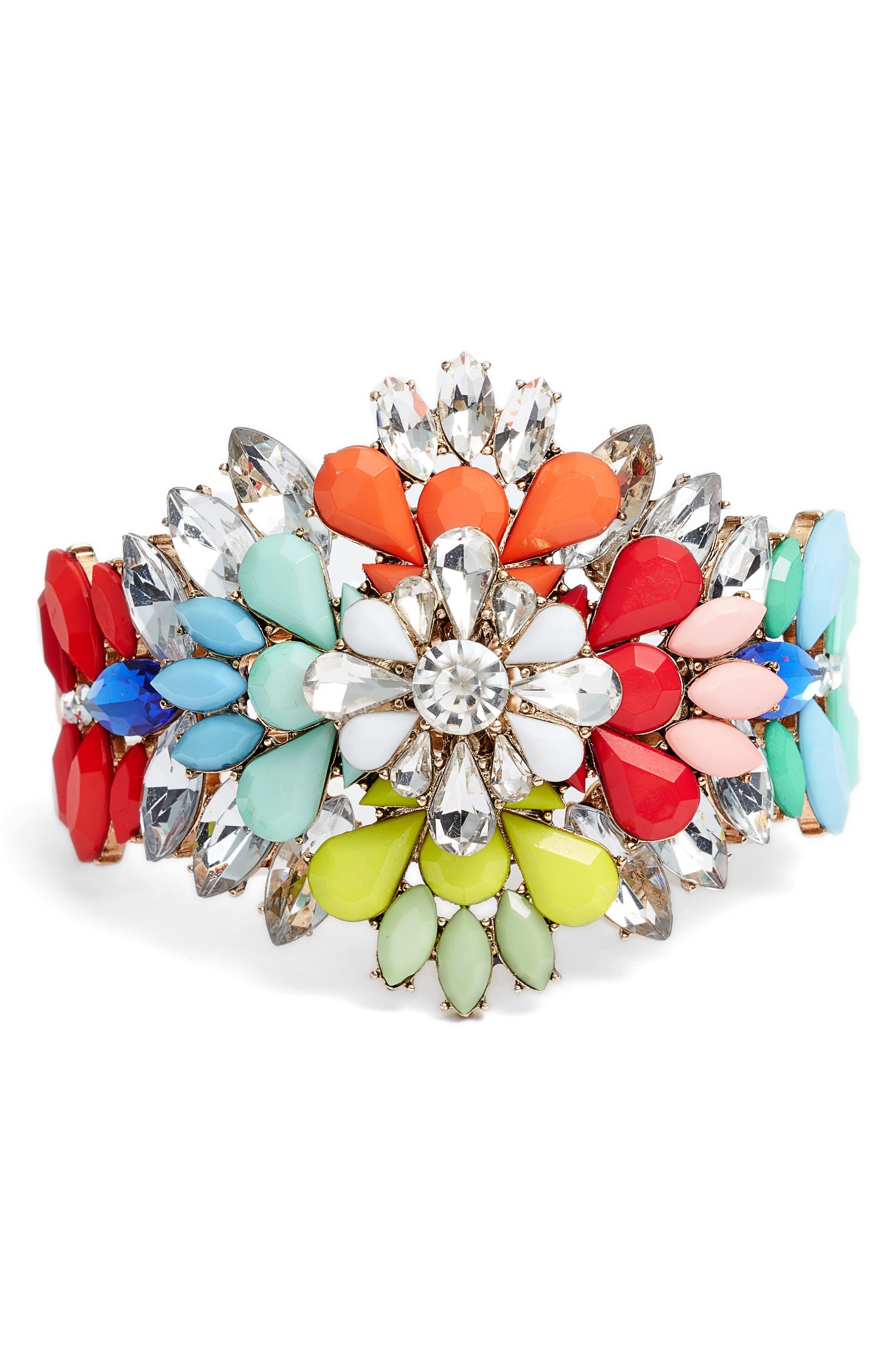 Casted Flower Bangle,                         Main,                         color, Multi