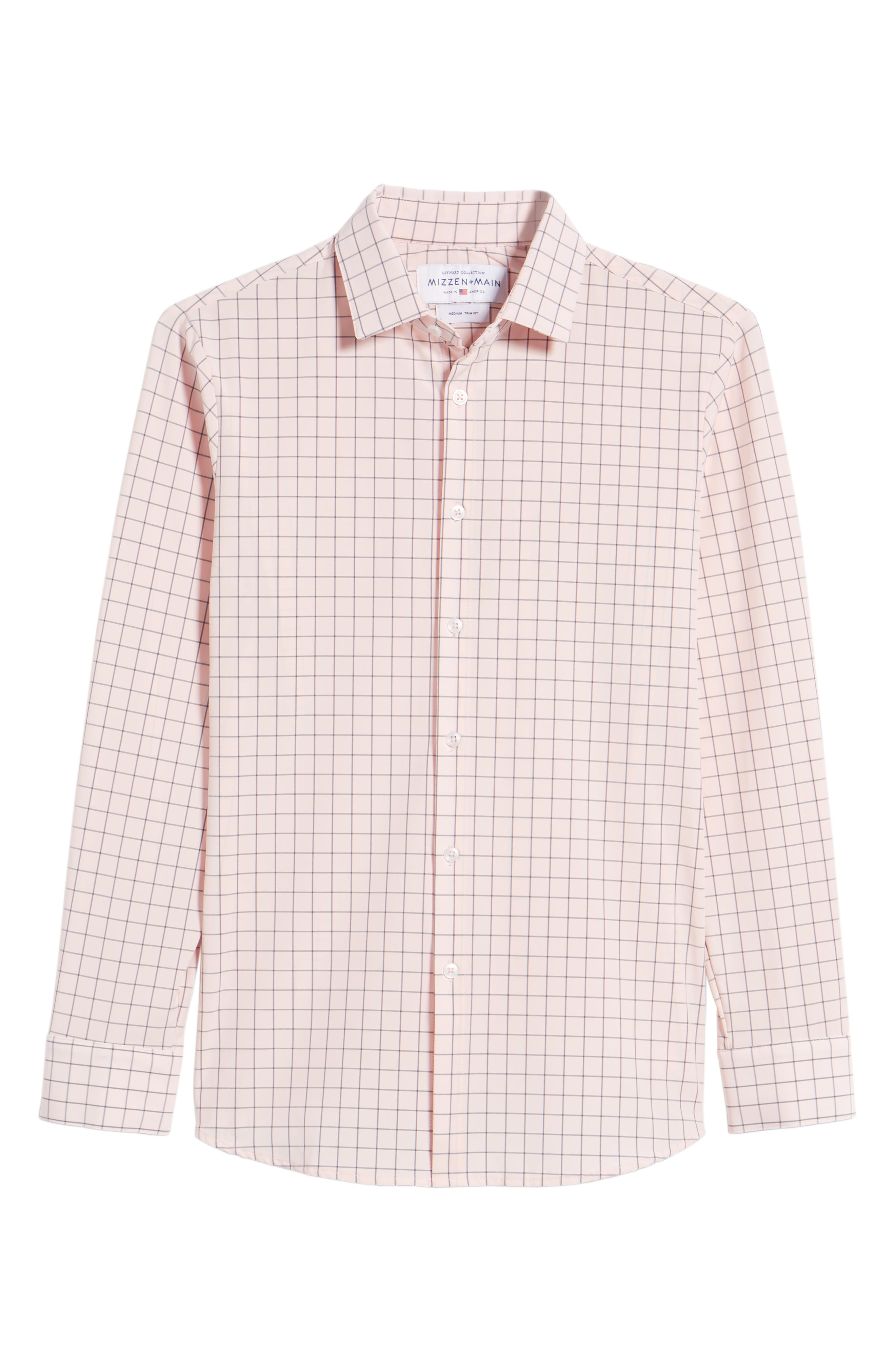 Andrews Slim Fit Windowpane Performance Sport Shirt,                             Alternate thumbnail 6, color,                             Pink