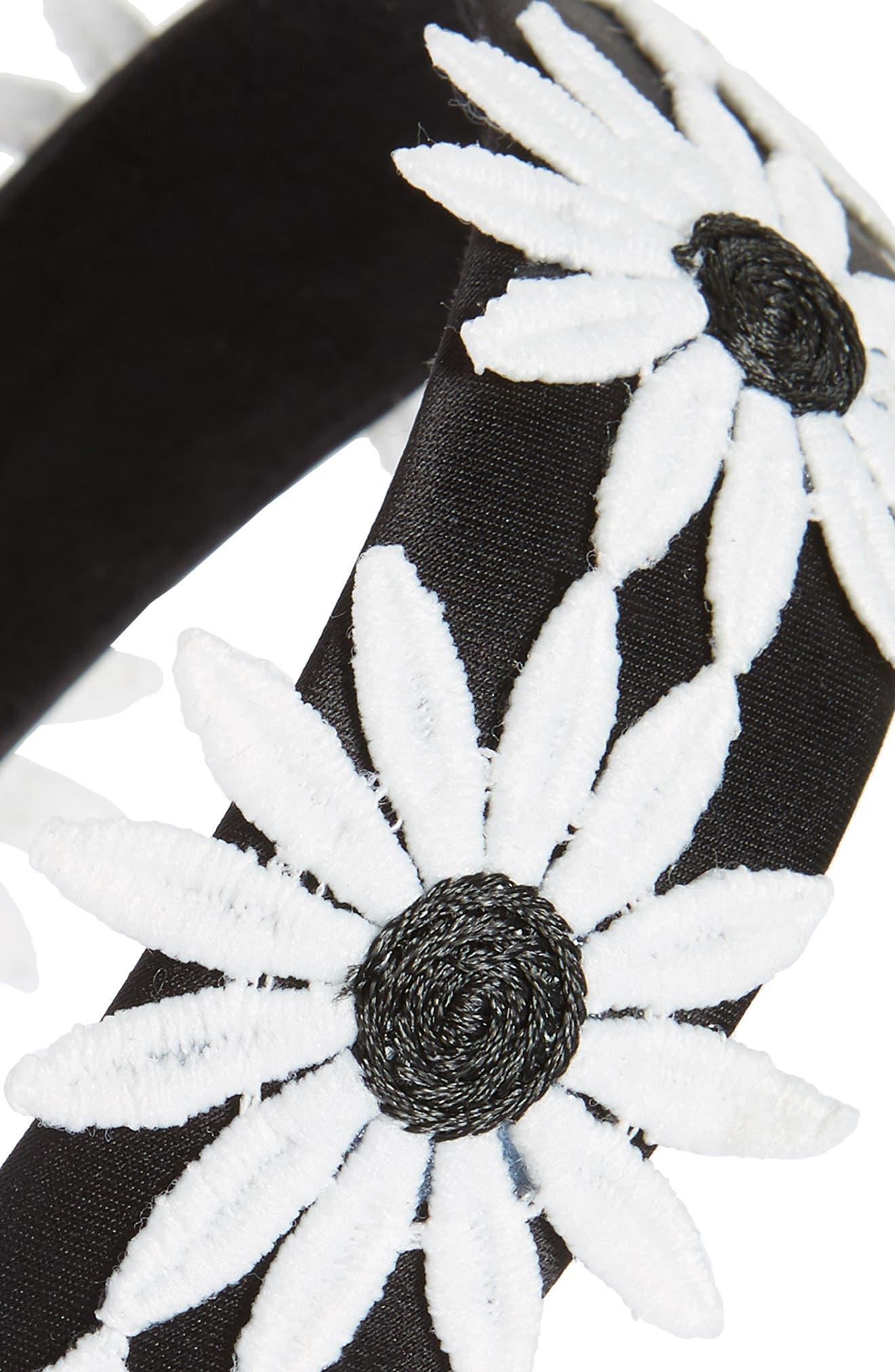 Big Daisy Headband,                             Alternate thumbnail 2, color,                             Black/ White
