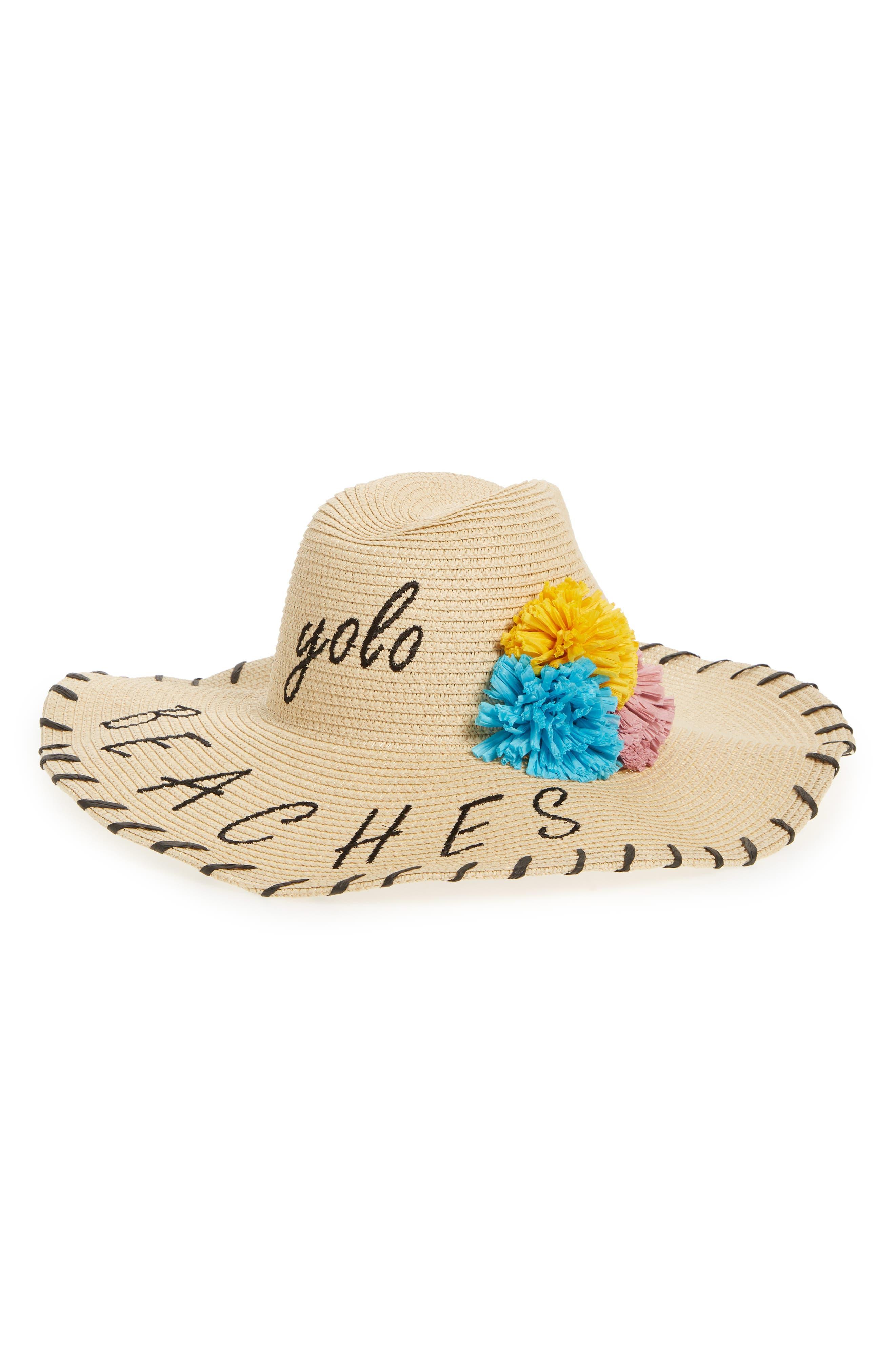 Verbiage Pom Straw Panama Hat,                             Main thumbnail 1, color,                             Natural