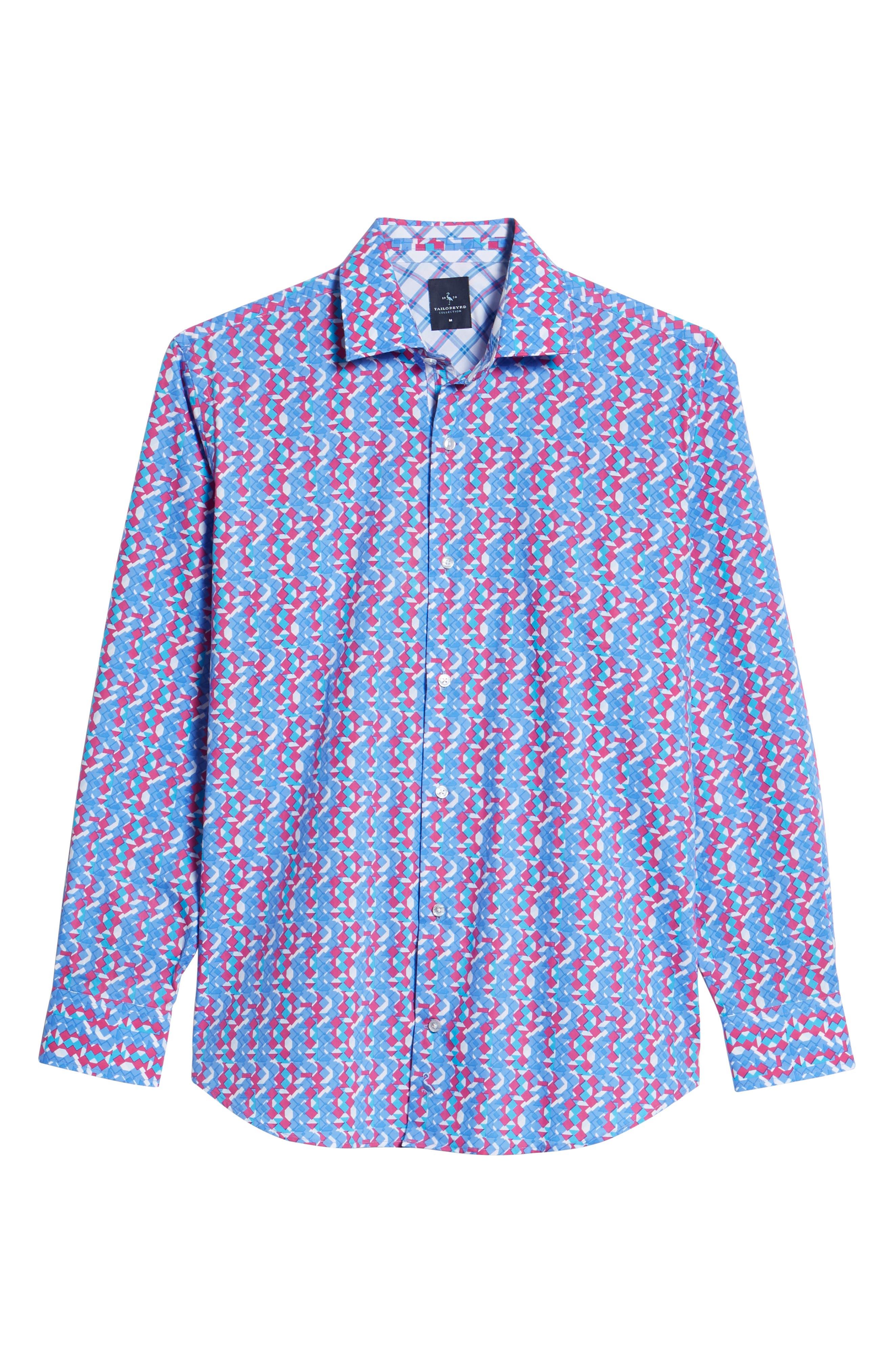 Beal Regular Fit Geo Print Sport Shirt,                             Alternate thumbnail 6, color,                             Peri Blue