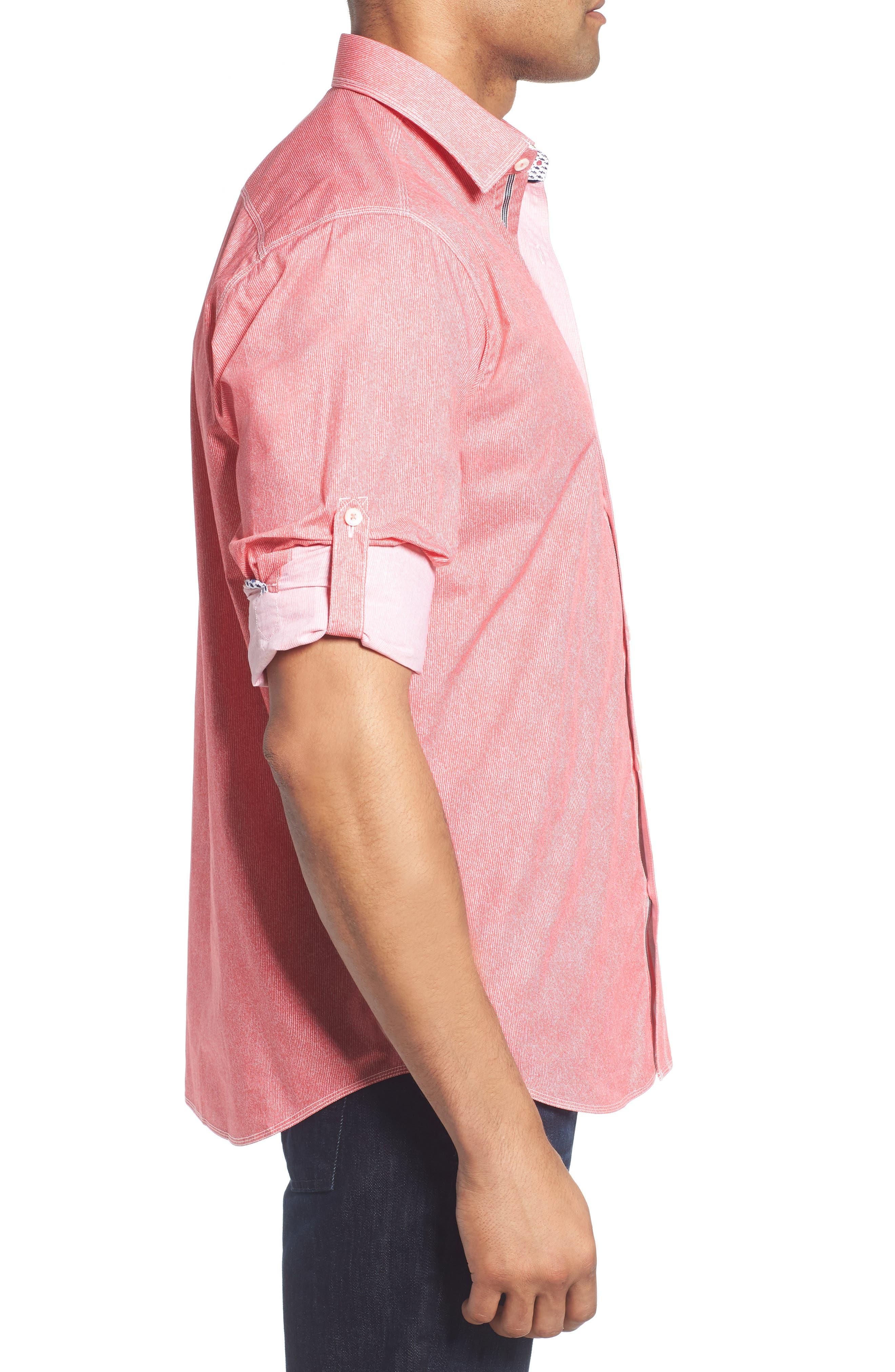 Classic Fit Stripe Sport Shirt,                             Alternate thumbnail 3, color,                             Pink