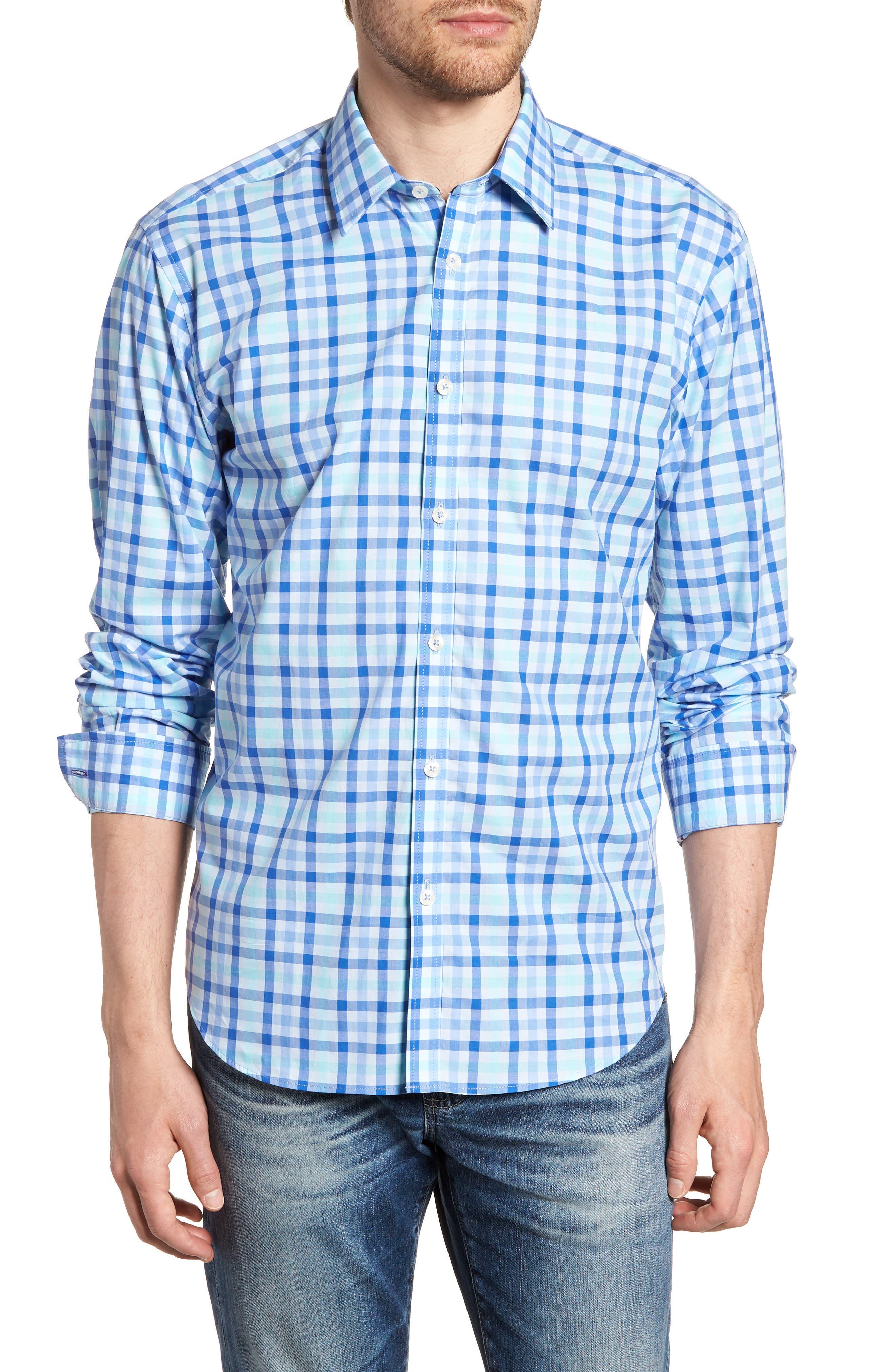 Slim Fit Check Sport Shirt,                         Main,                         color, Medium Blue