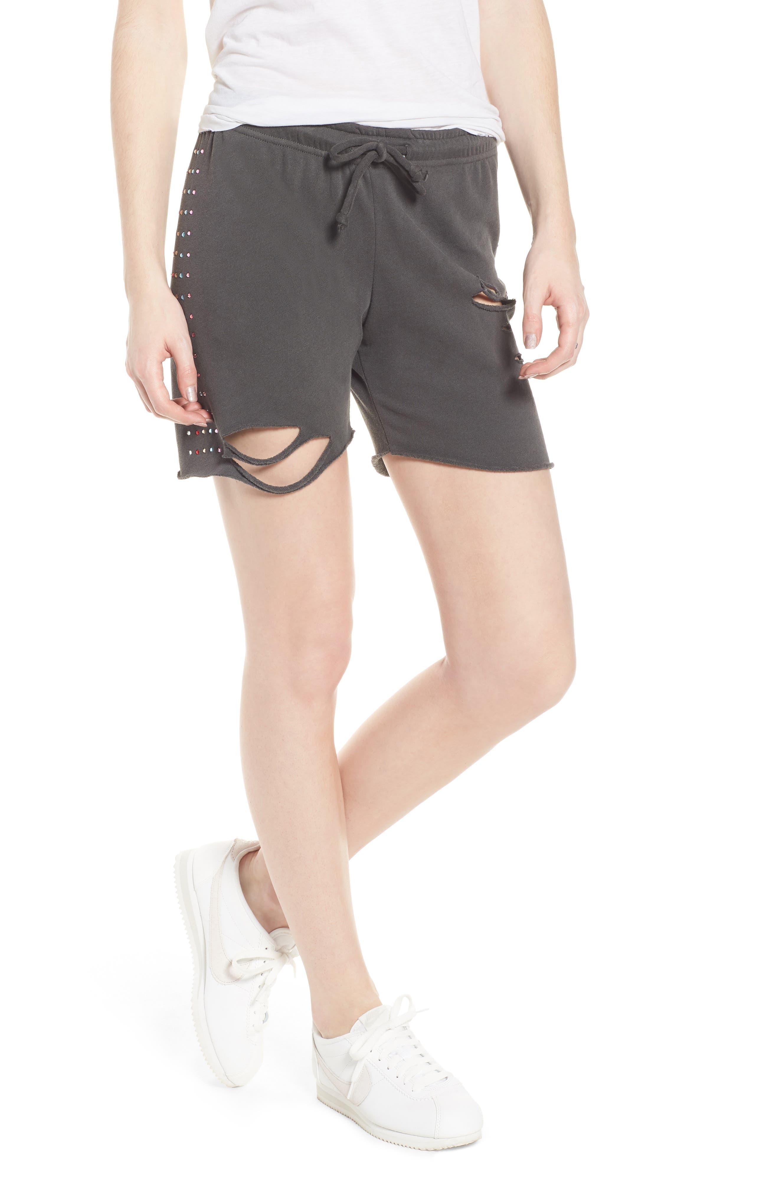 Rainbow Glitz Shorts,                             Main thumbnail 1, color,                             Pigment Black