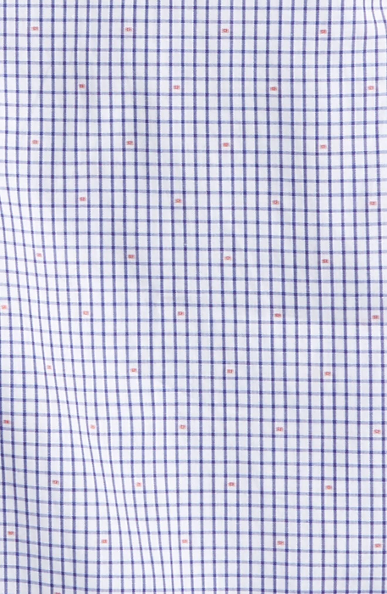 Mini Check Dress Shirt,                             Alternate thumbnail 2, color,                             Blue/ White