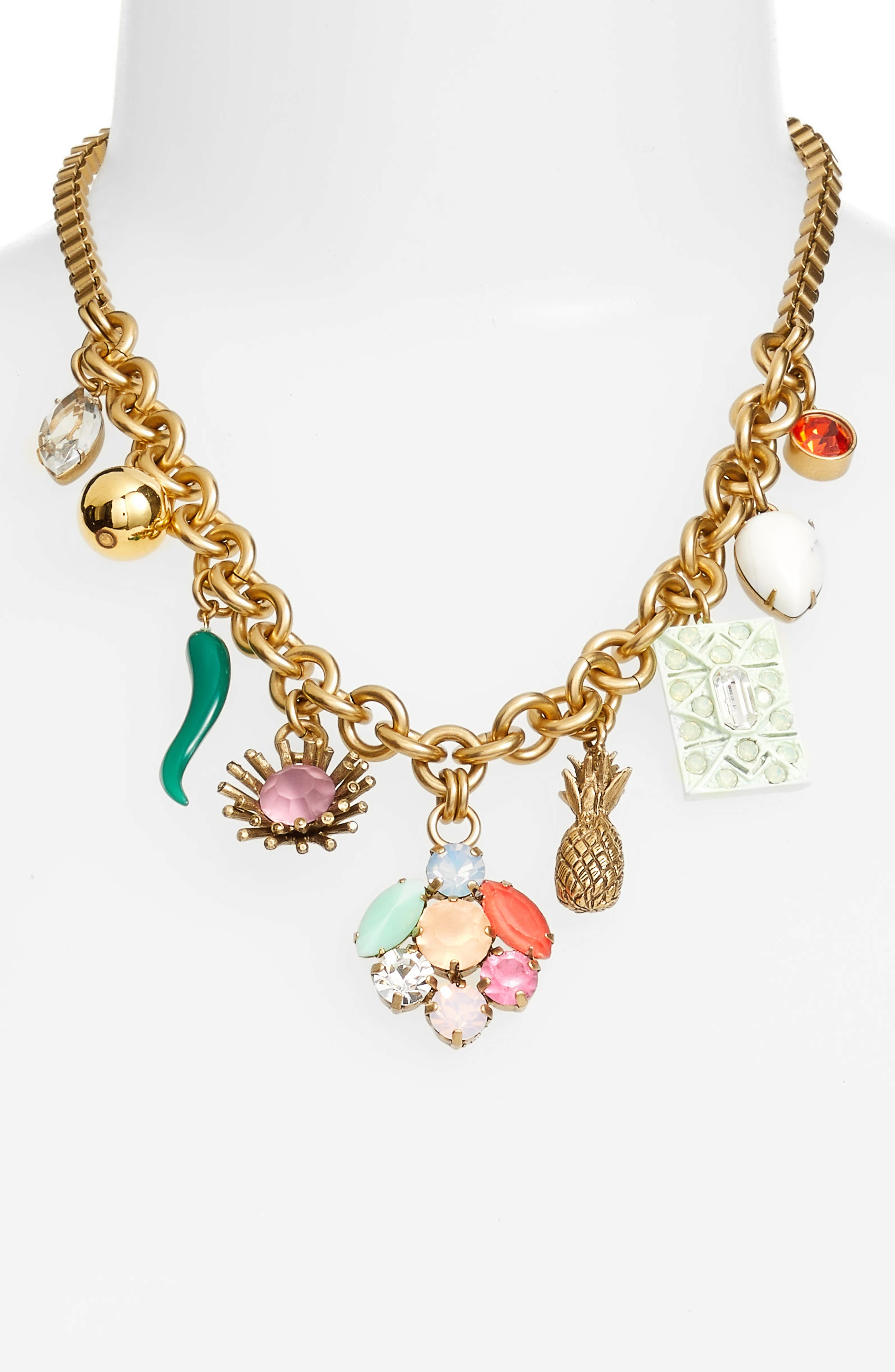 Ophelia Statement Necklace,                             Alternate thumbnail 2, color,                             Gold Multi