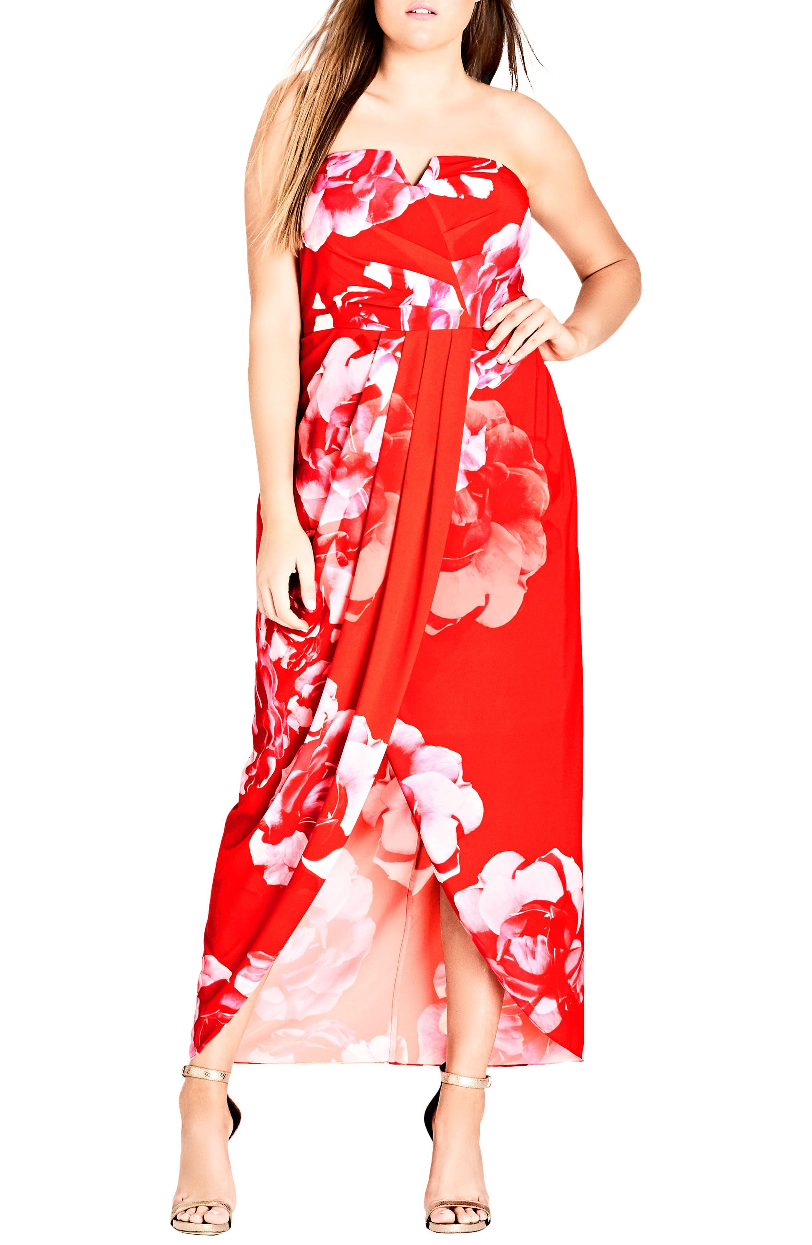 Tango Floral Strapless Maxi Dress,                             Main thumbnail 1, color,                             Tango Floral