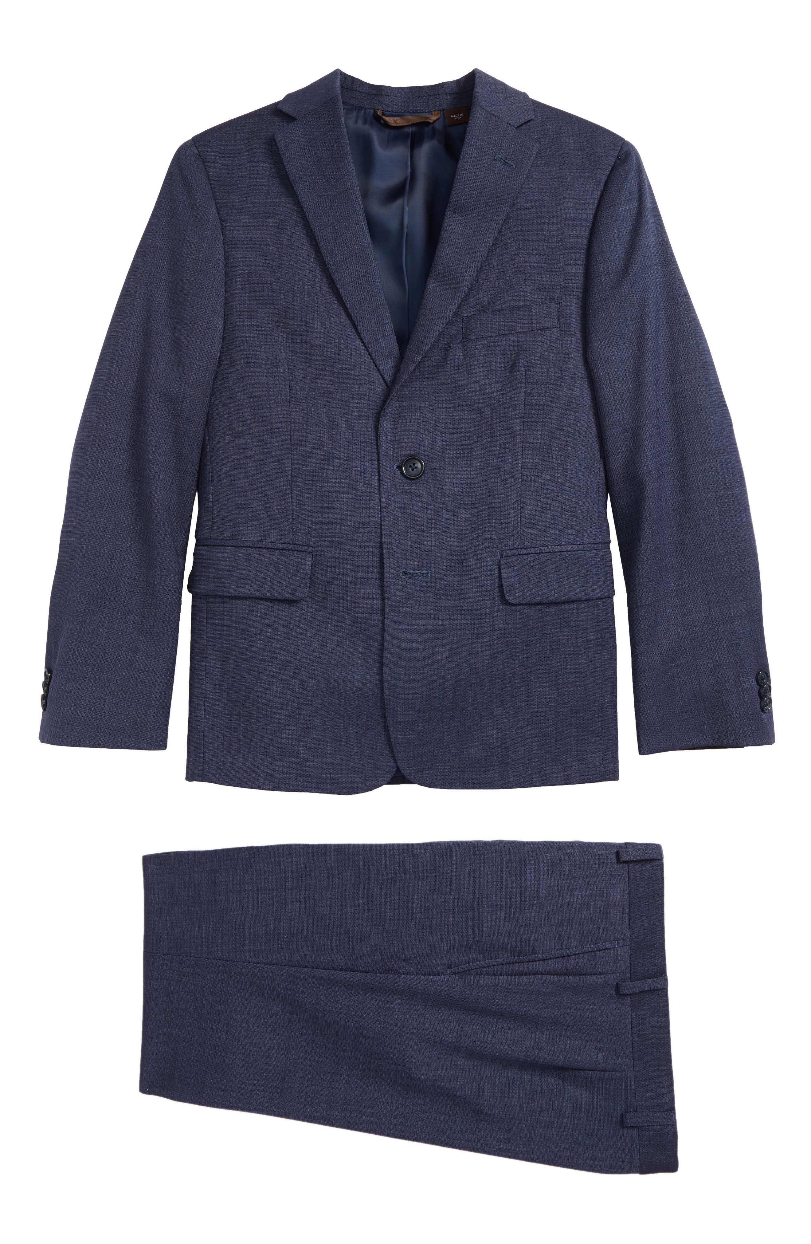 Two-Piece Wool Suit,                         Main,                         color, Navy