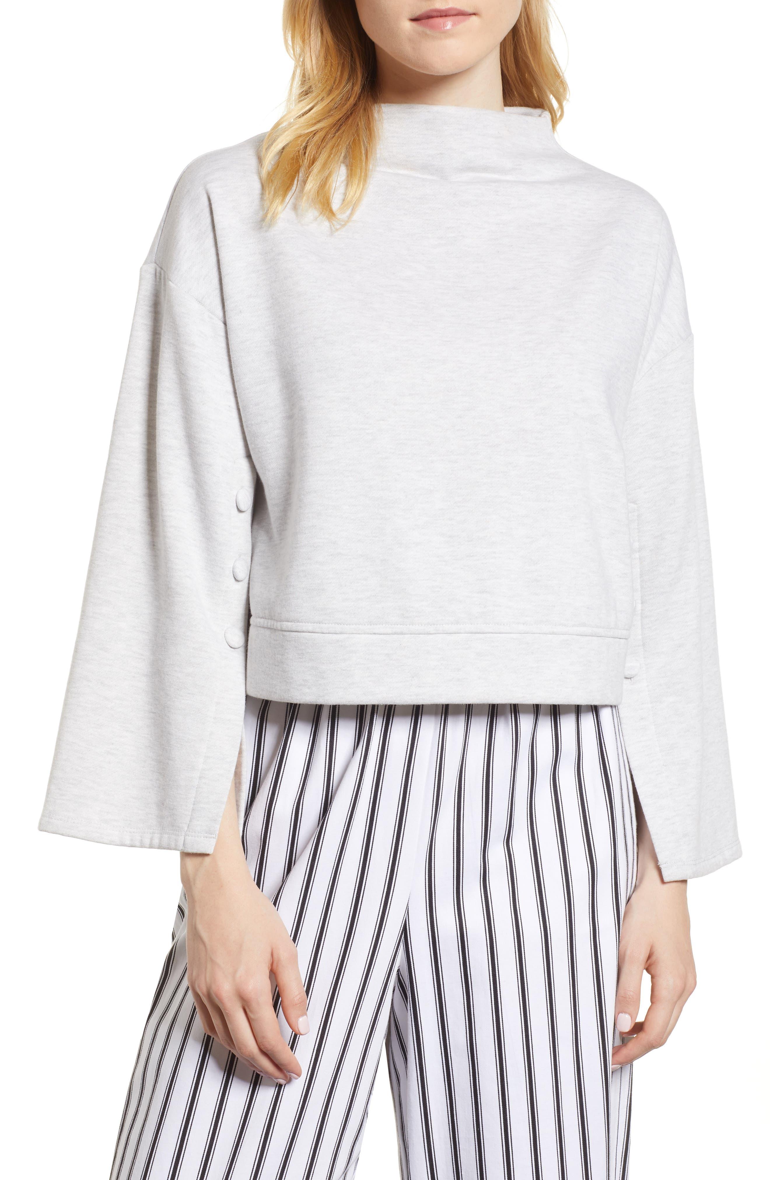 Aria Split Sleeve Sweatshirt,                         Main,                         color, Light Heather Grey