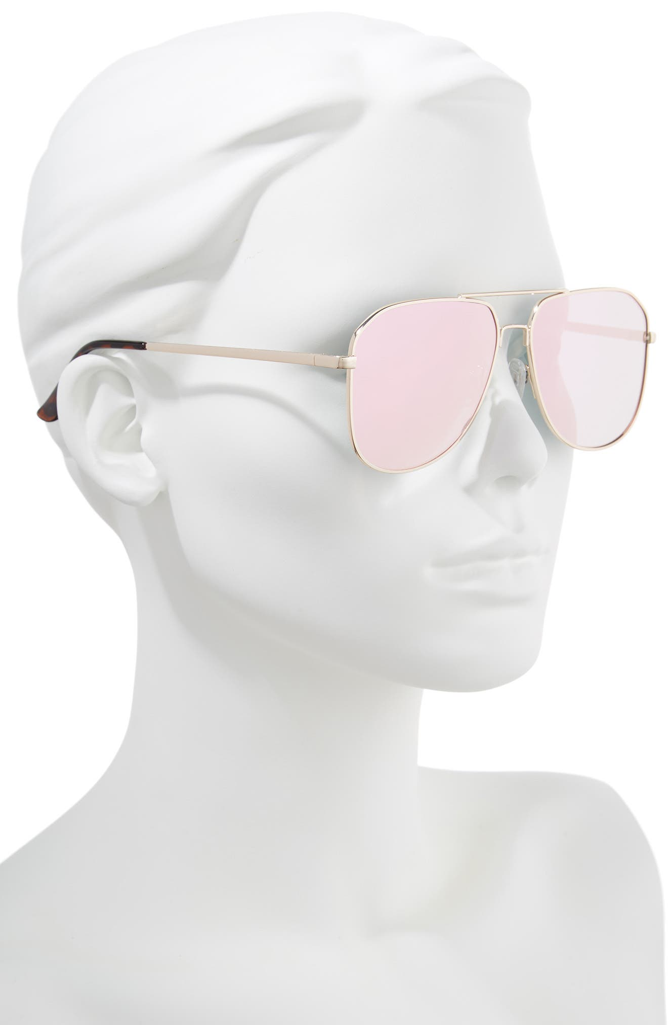 54mm Aviator Sunglasses,                             Alternate thumbnail 2, color,                             Gold/ Pink