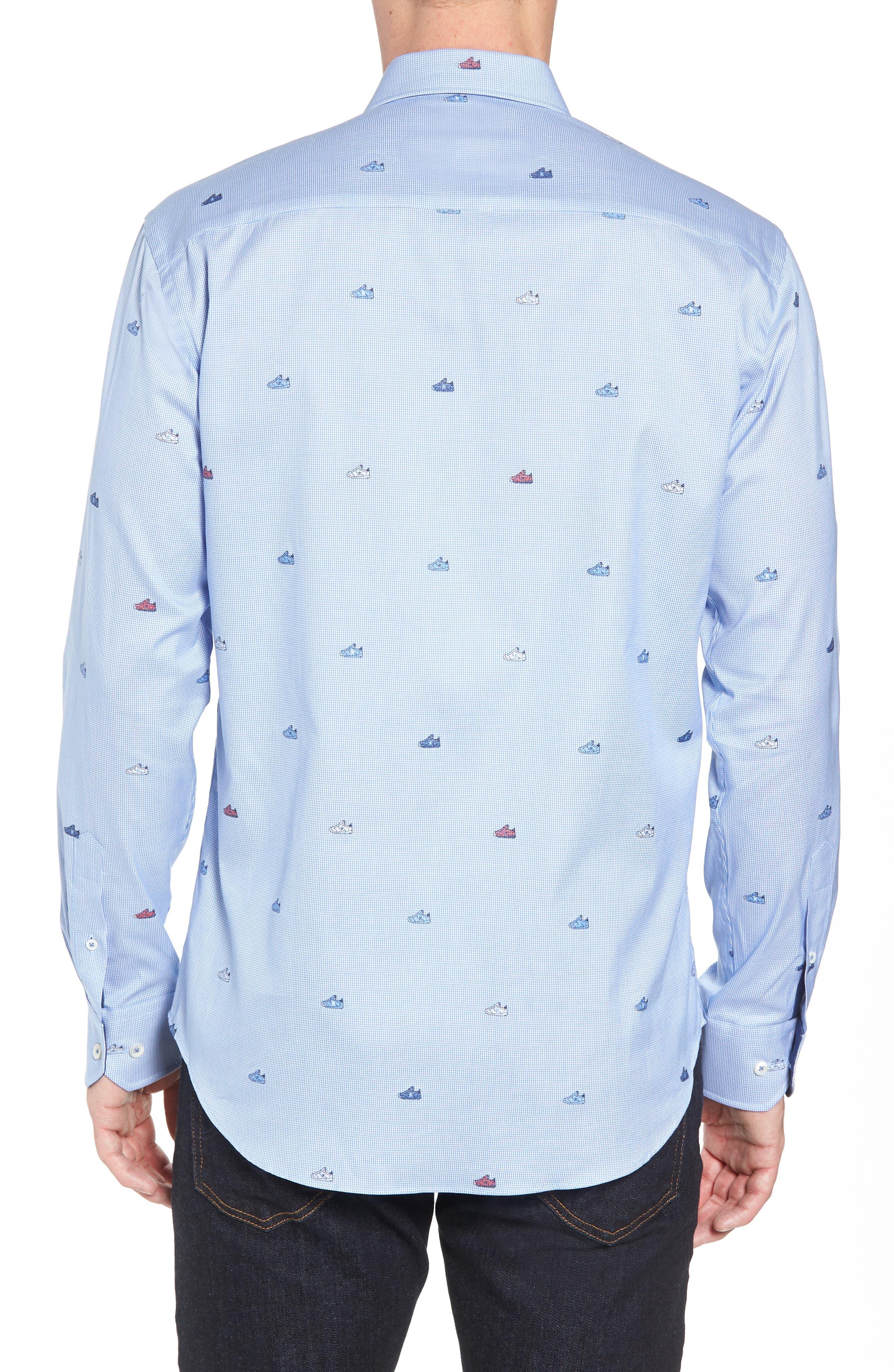 Shaped Fit Sneaker Jacquard Sport Shirt,                             Alternate thumbnail 3, color,                             Classic Blue