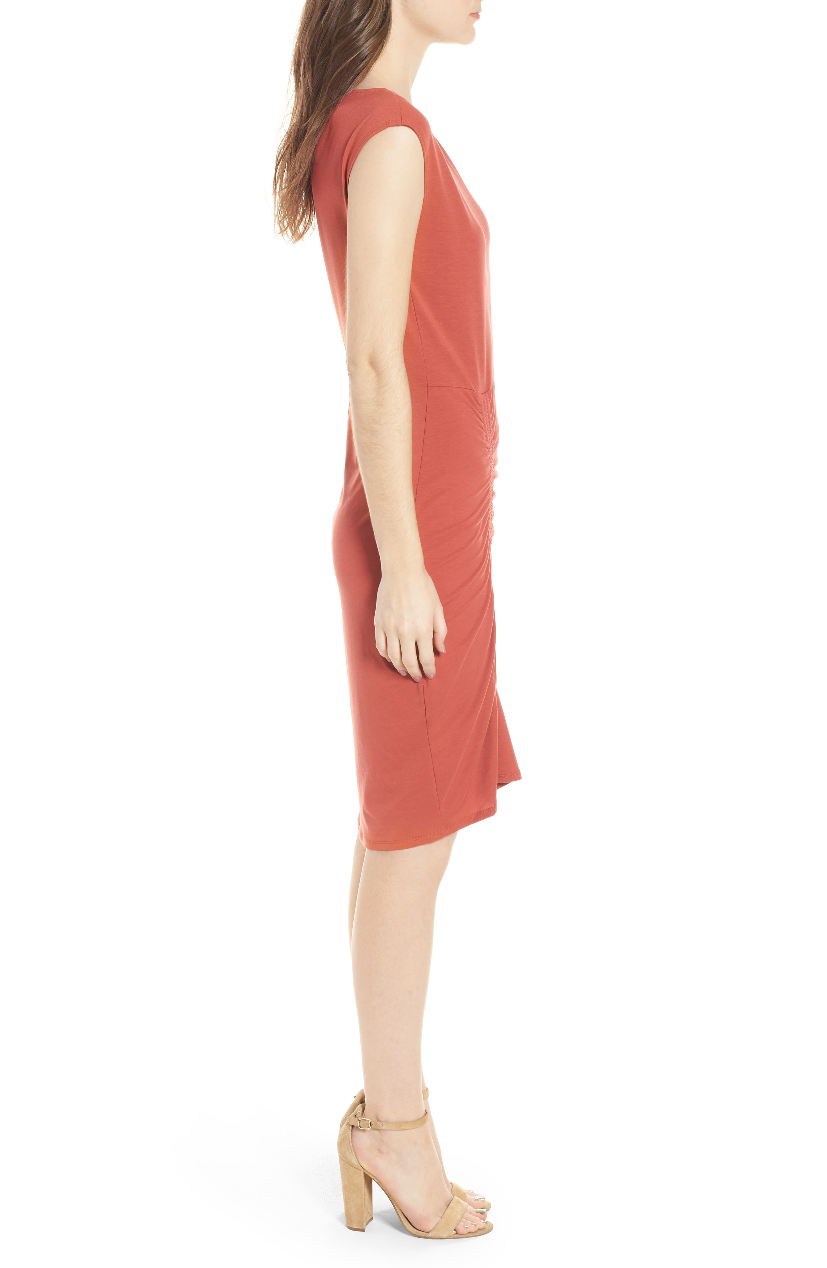 Ruched Knit Dress,                             Alternate thumbnail 3, color,                             Red Sauce