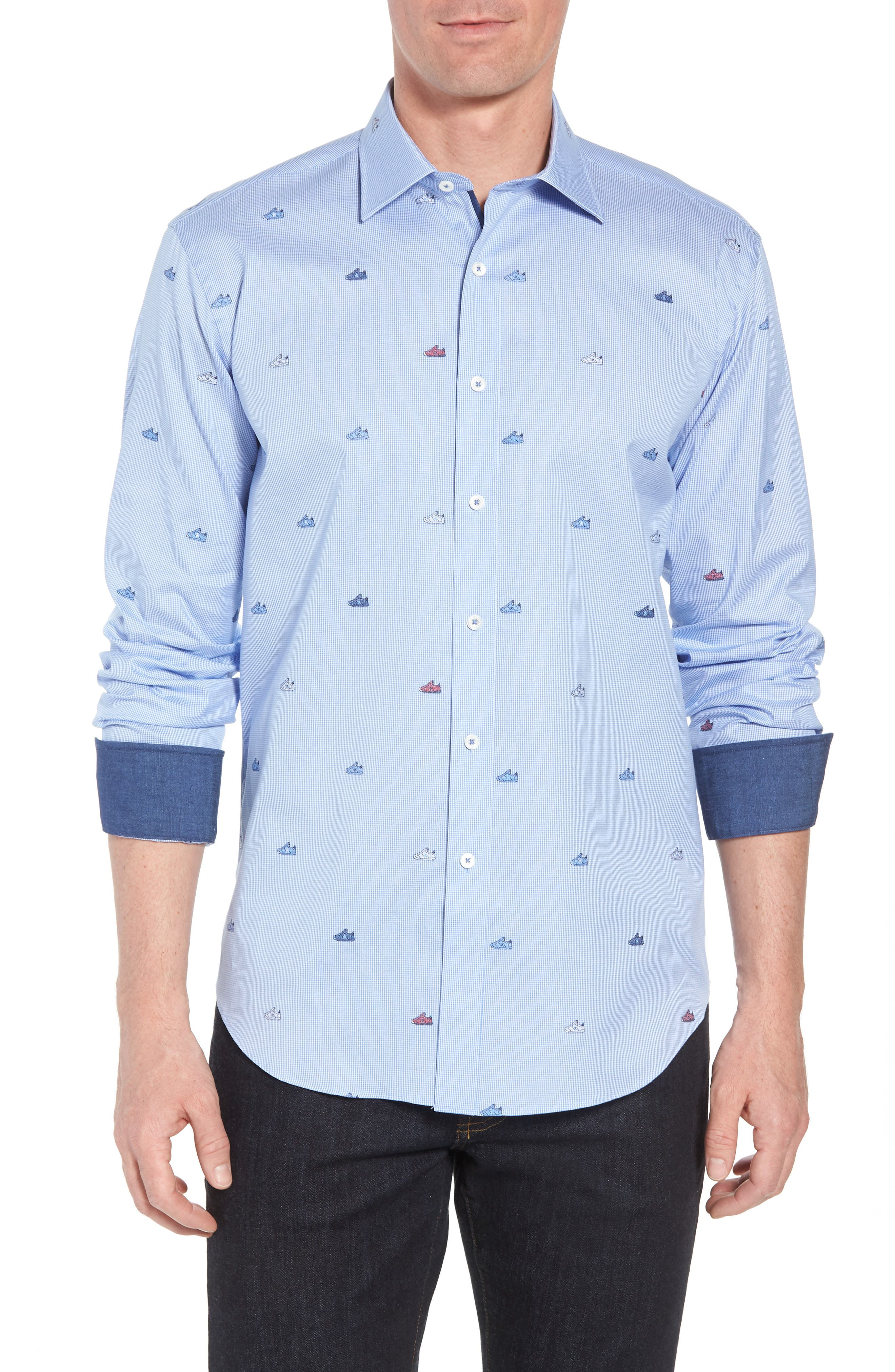 Shaped Fit Sneaker Jacquard Sport Shirt,                             Main thumbnail 1, color,                             Classic Blue