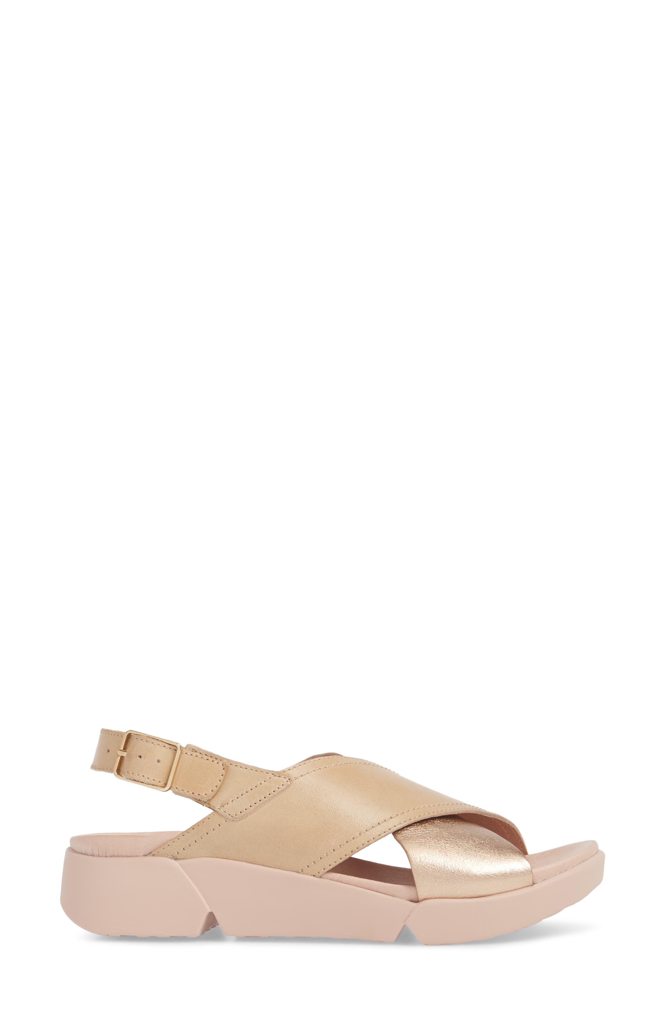 Platform Wedge Sandal,                             Alternate thumbnail 3, color,                             Oro/ Taupe Leather