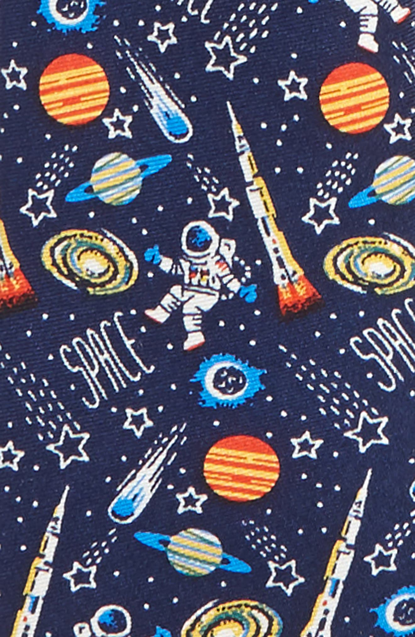 Space Icons Silk Zip Tie,                             Alternate thumbnail 2, color,                             Navy