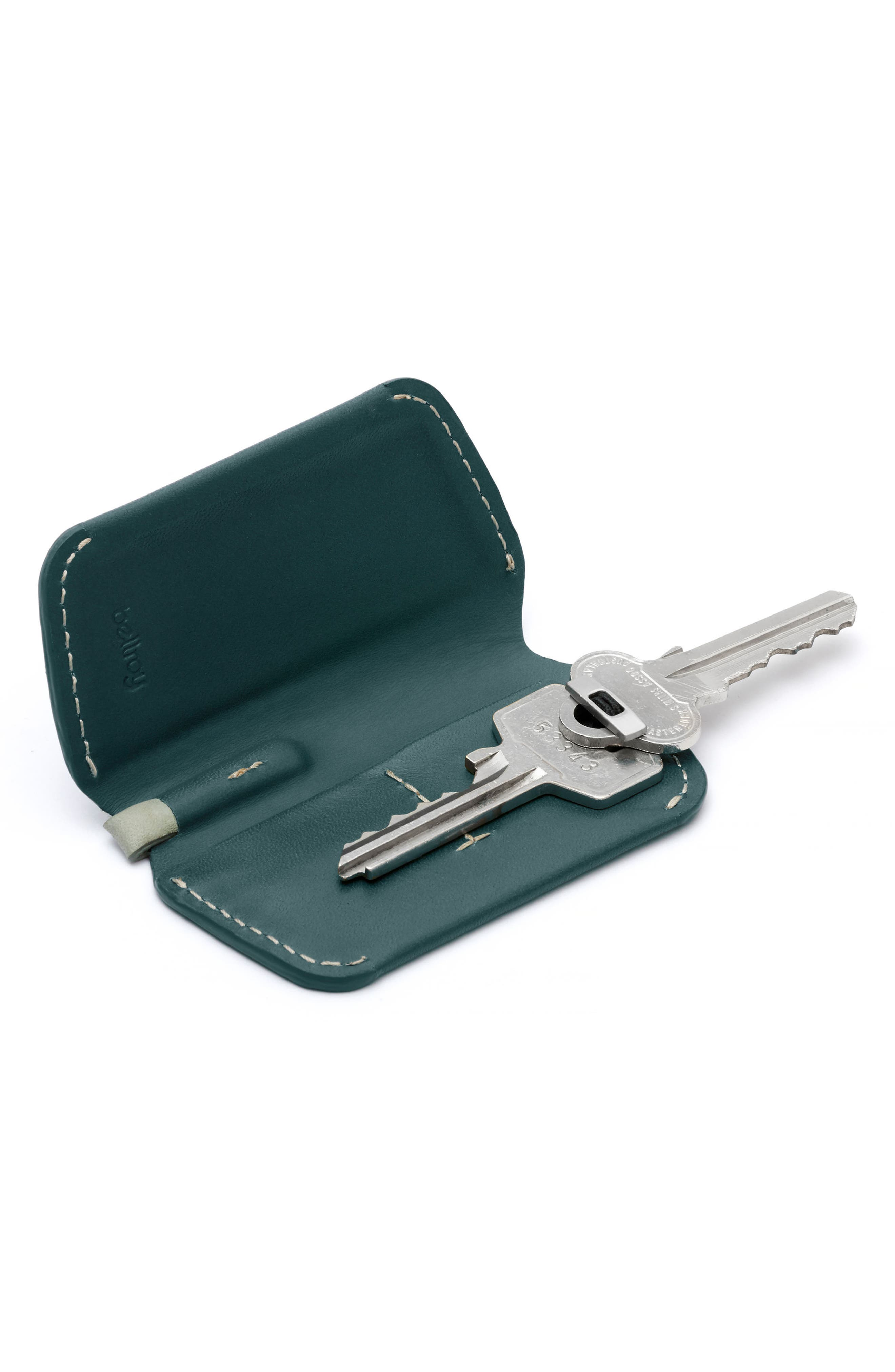 Leather Key Cover,                             Alternate thumbnail 4, color,                             Teal