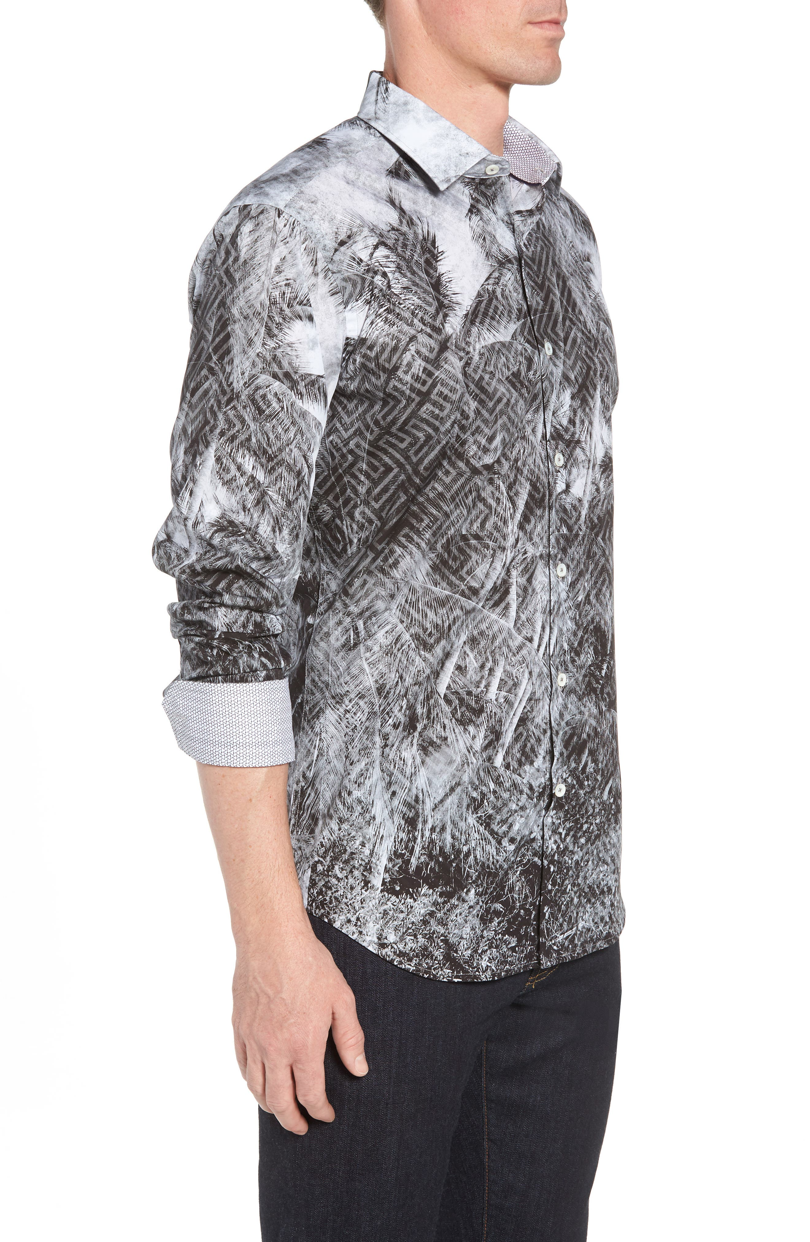 Shaped Fit Shady Frond Print Sport Shirt,                             Alternate thumbnail 4, color,                             Graphite