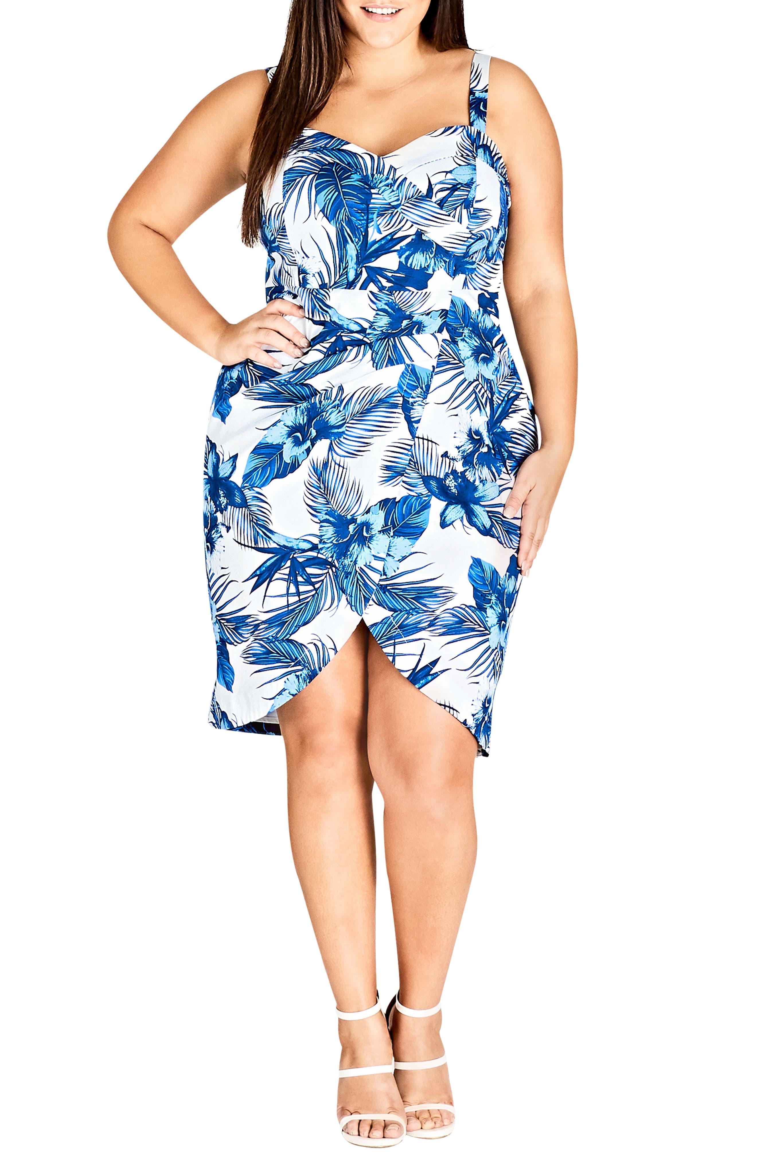 Hawaii Pin-Up Faux Wrap Dress,                         Main,                         color, Hawaii