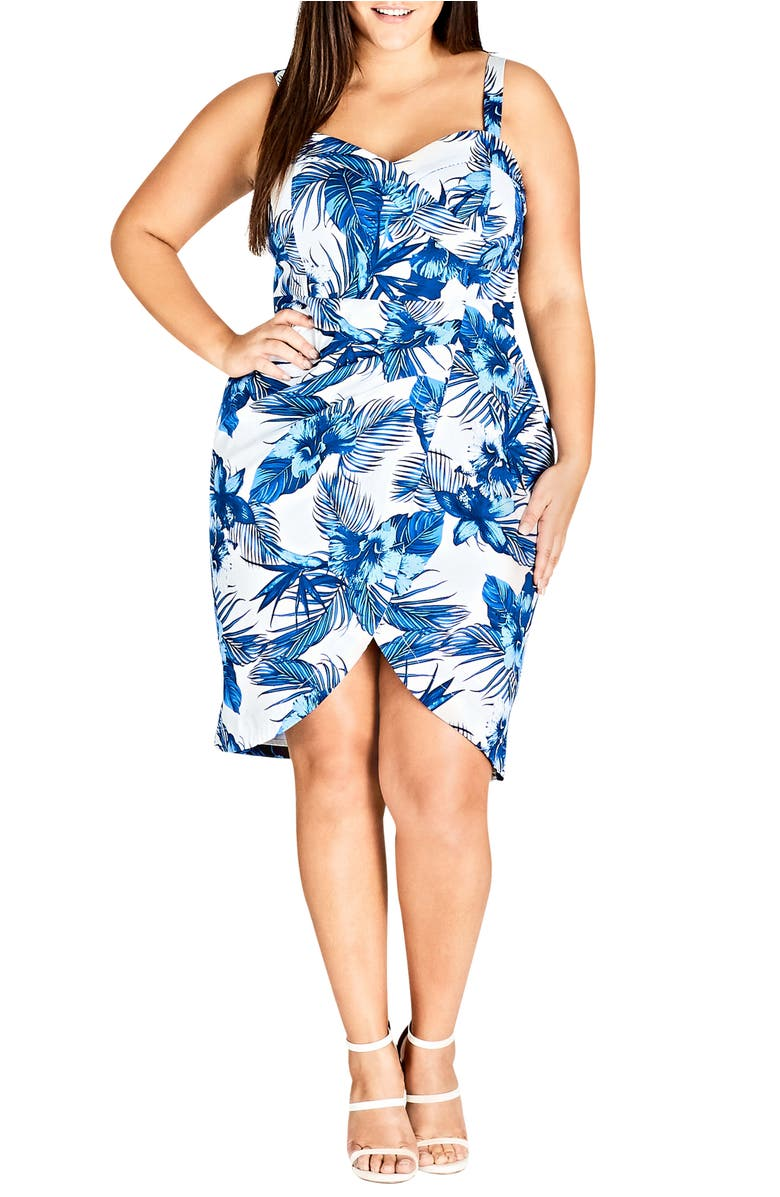 City Chic HAWAII PIN-UP FAUX WRAP DRESS