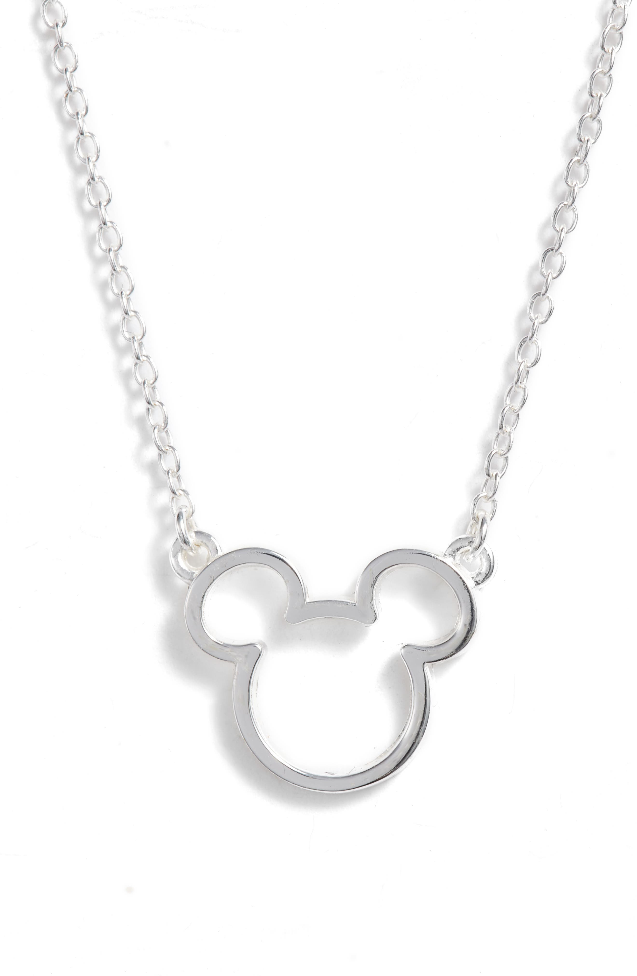 Mickey Mouse Pendant Necklace,                             Main thumbnail 1, color,                             Silver