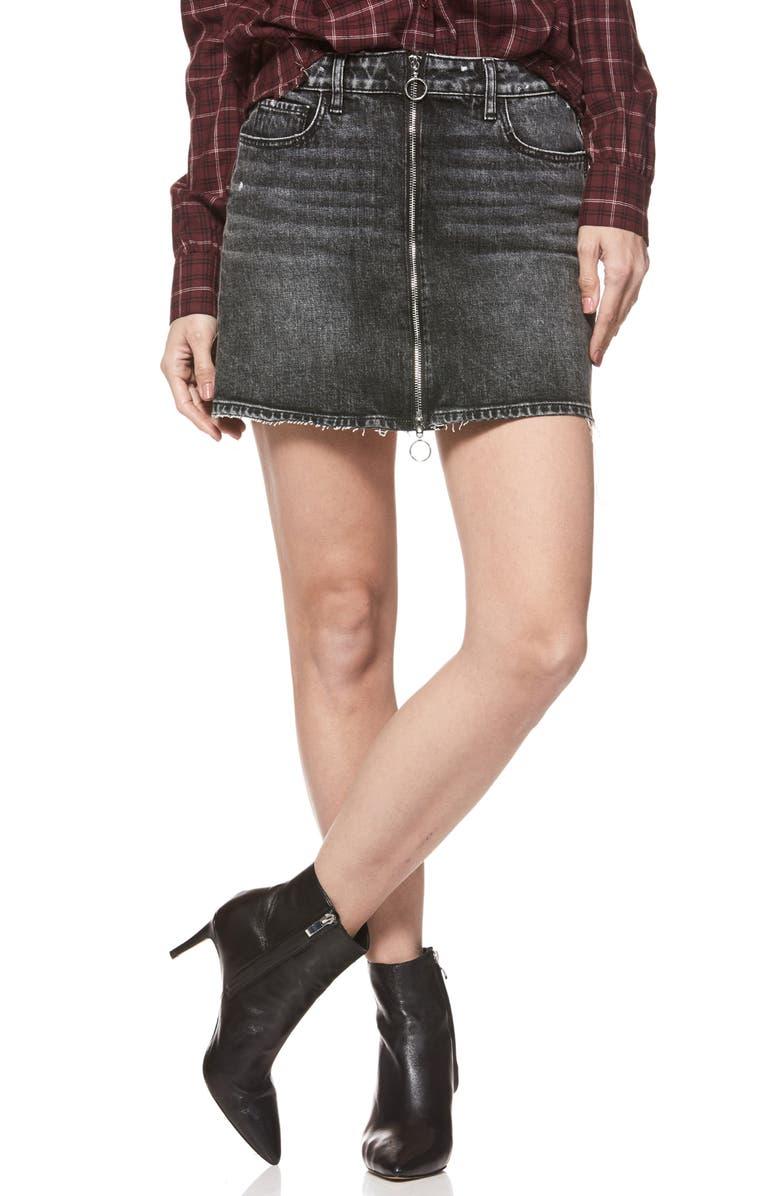 Aideen Zip Front Denim Miniskirt