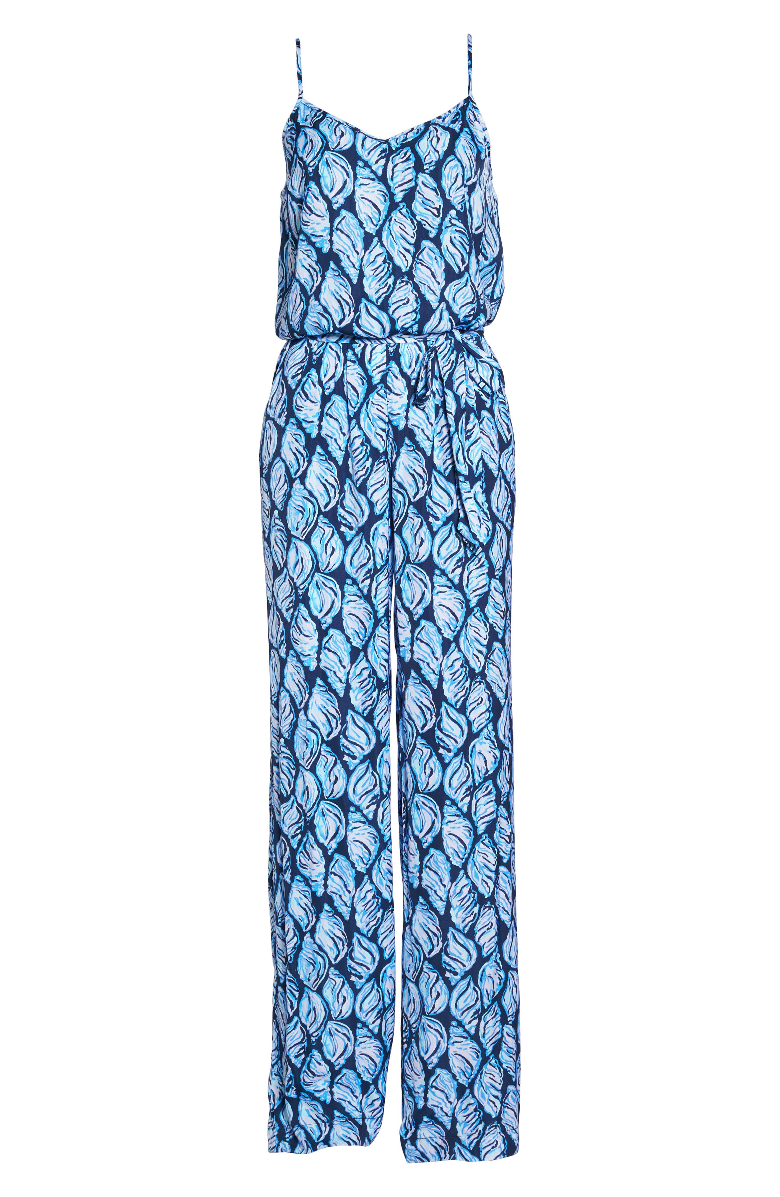Lilly Pulizter<sup>®</sup> Dusk Sleeveless Jumpsuit,                             Alternate thumbnail 6, color,                             High Tide Drop In