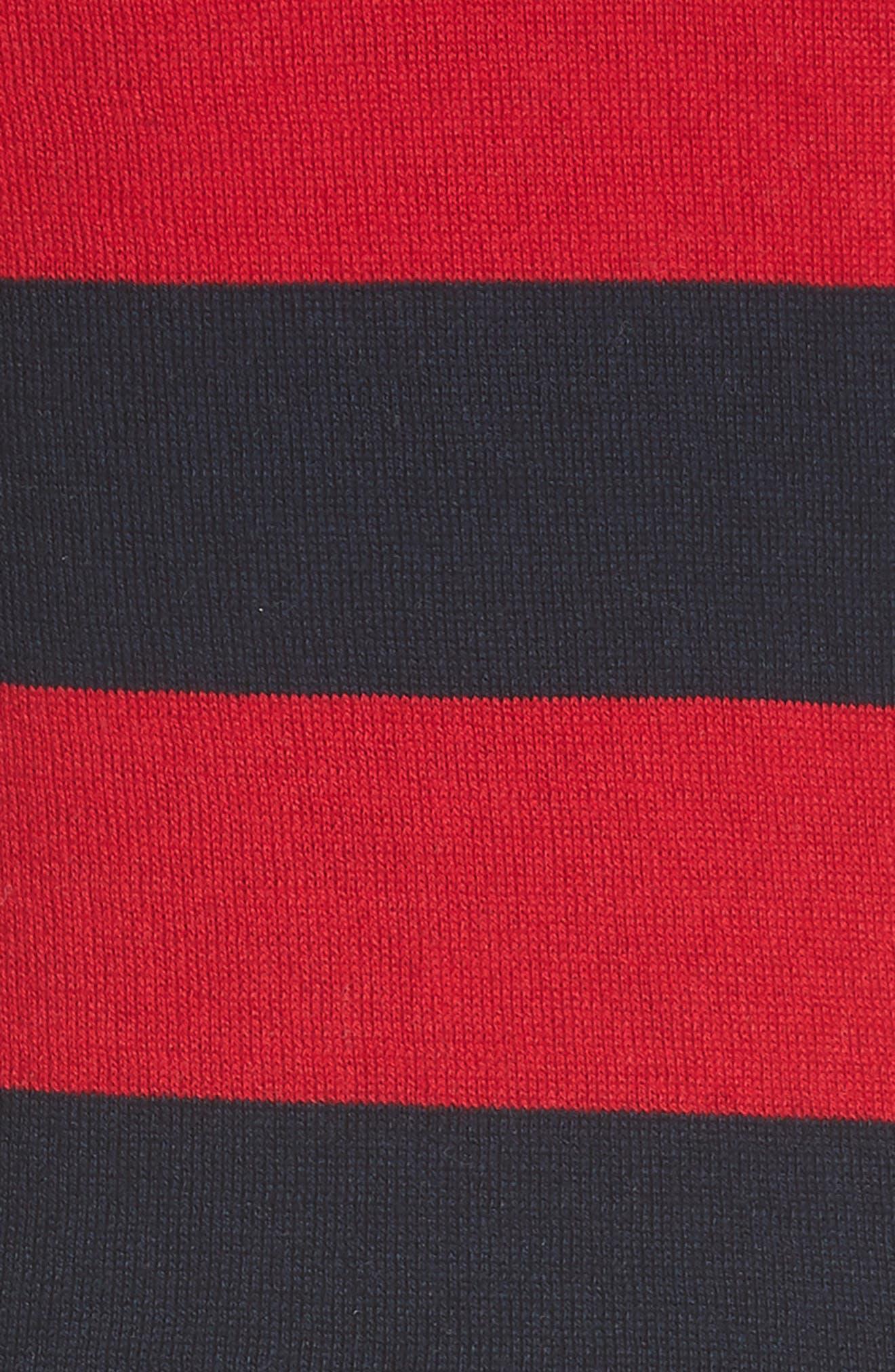 Ecedra Asymmetrical Stripe Faux Wrap Dress,                             Alternate thumbnail 5, color,                             Midnight Cherry