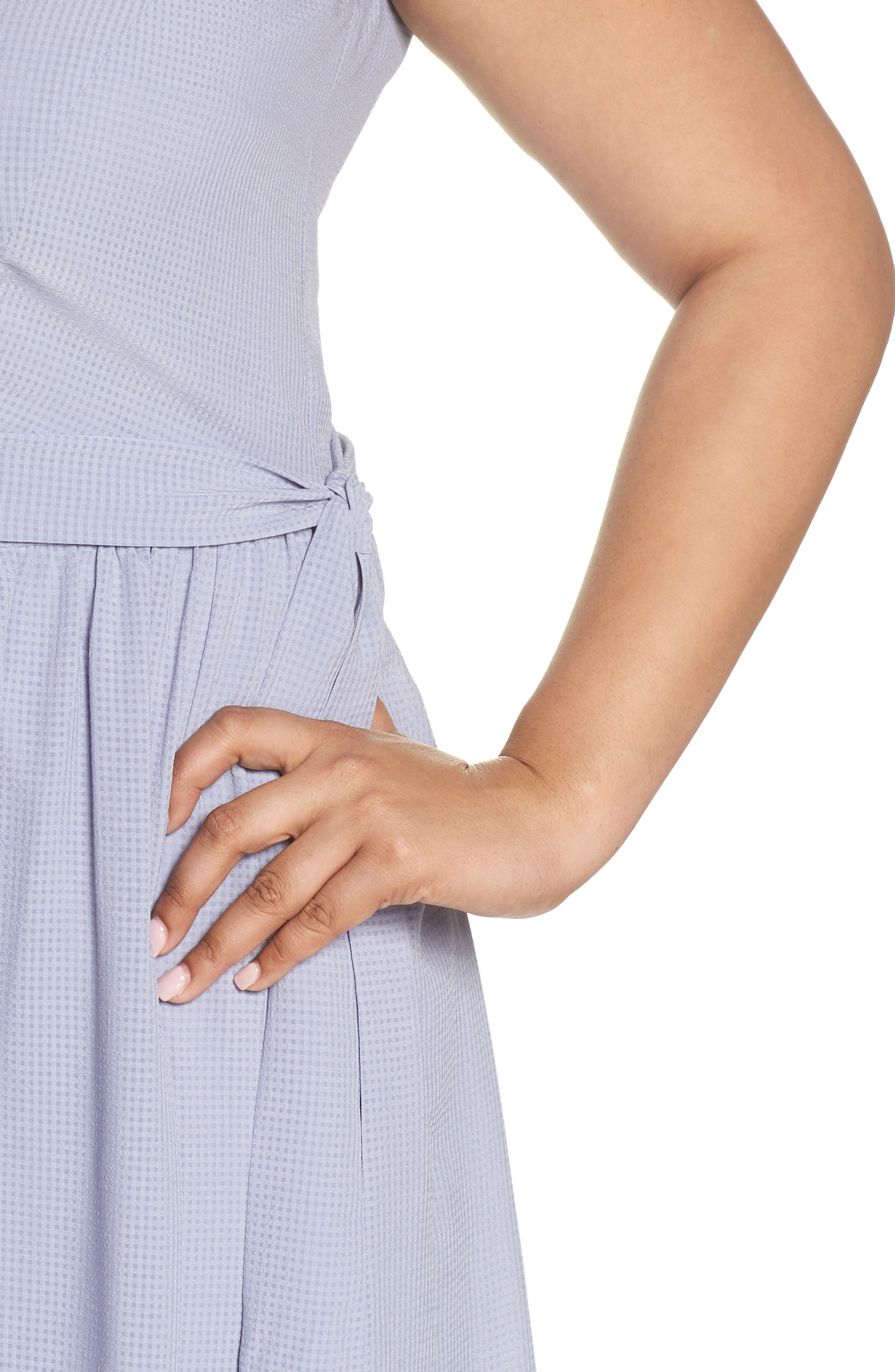 Side Tie Gathered Dress,                             Alternate thumbnail 4, color,                             Grey