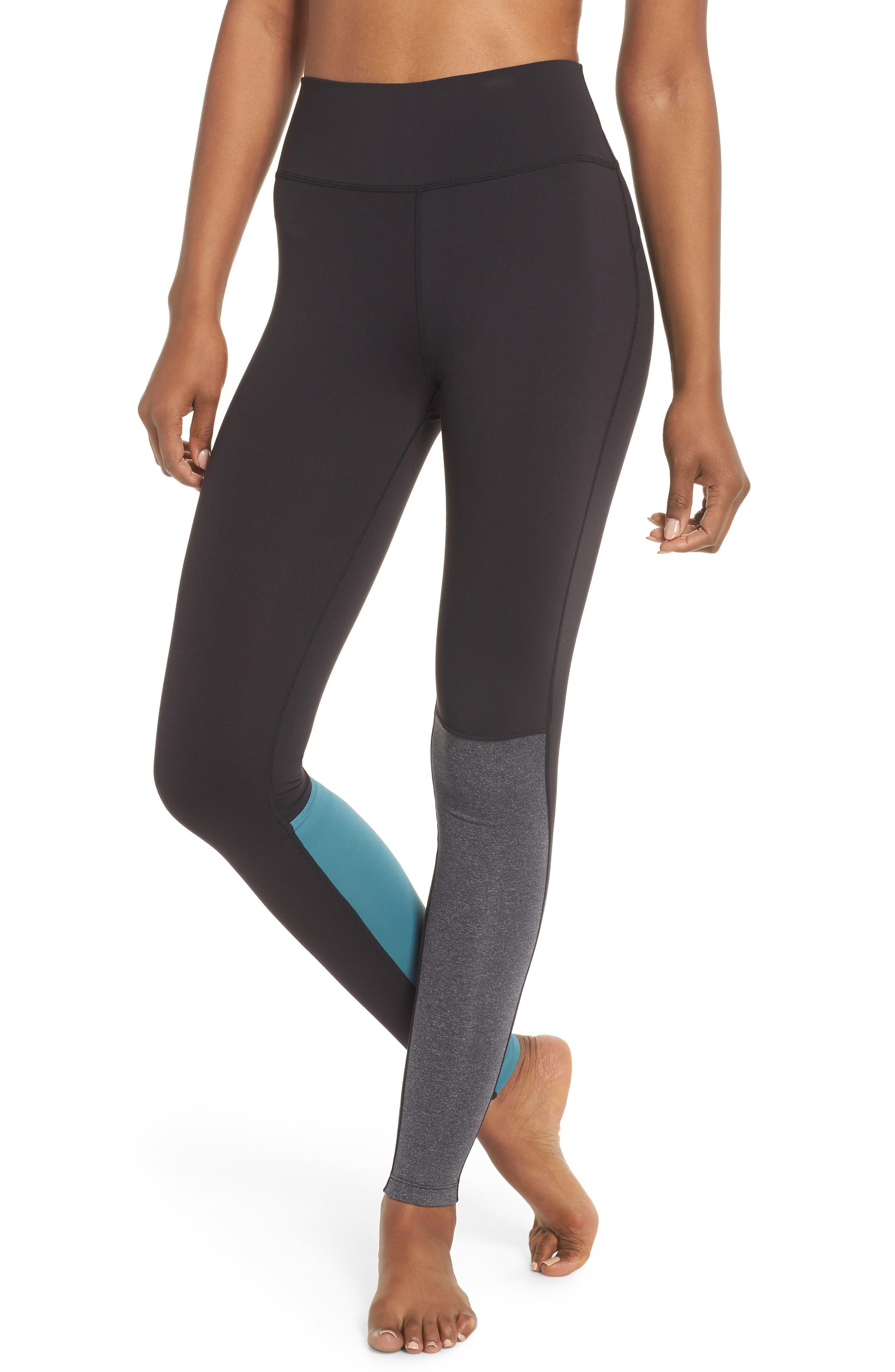 Flash Leggings,                         Main,                         color, Black/ Heather Grey/ Blue Surf