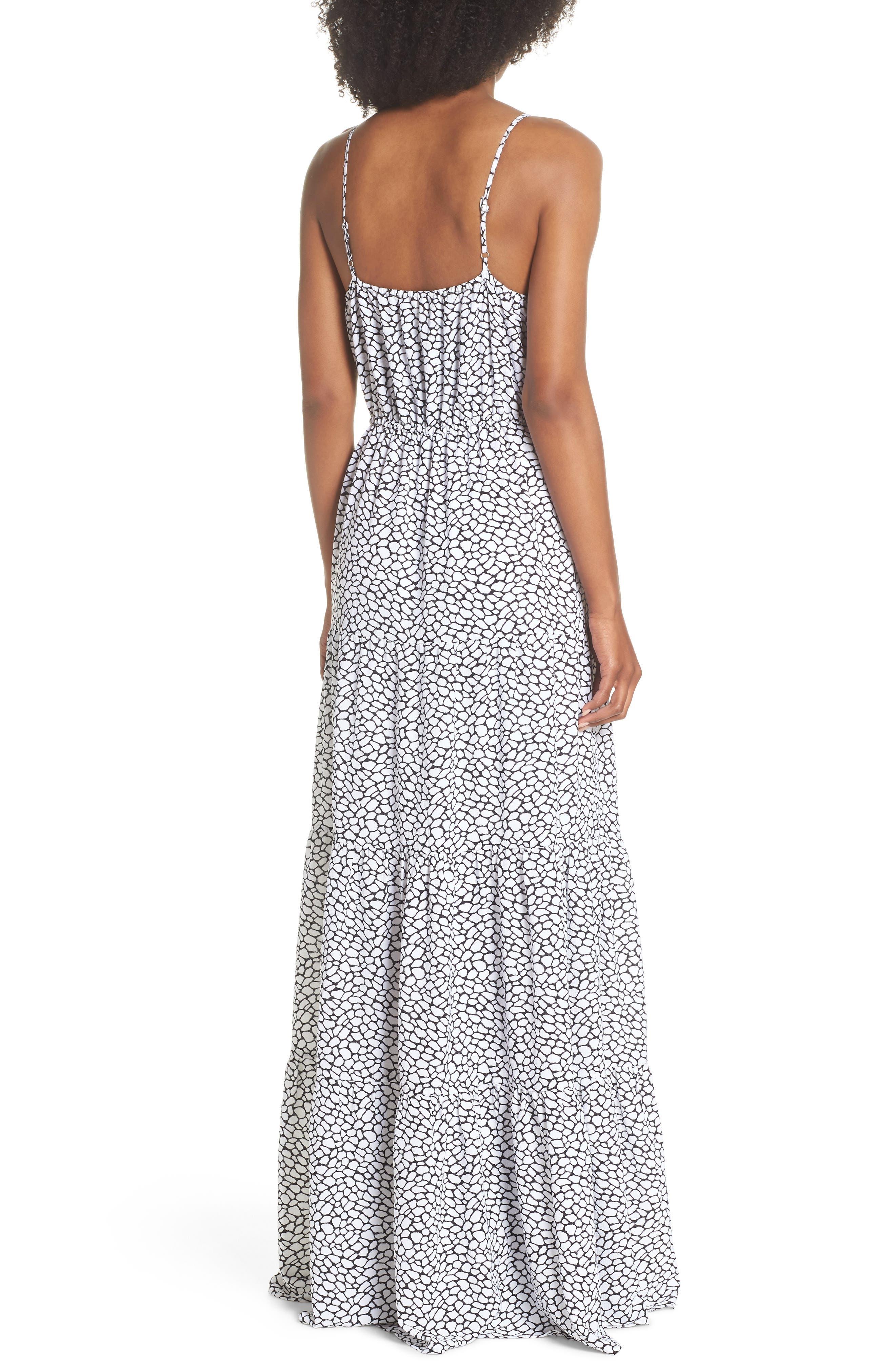 Tiered Maxi Dress,                             Alternate thumbnail 2, color,                             White/ Black