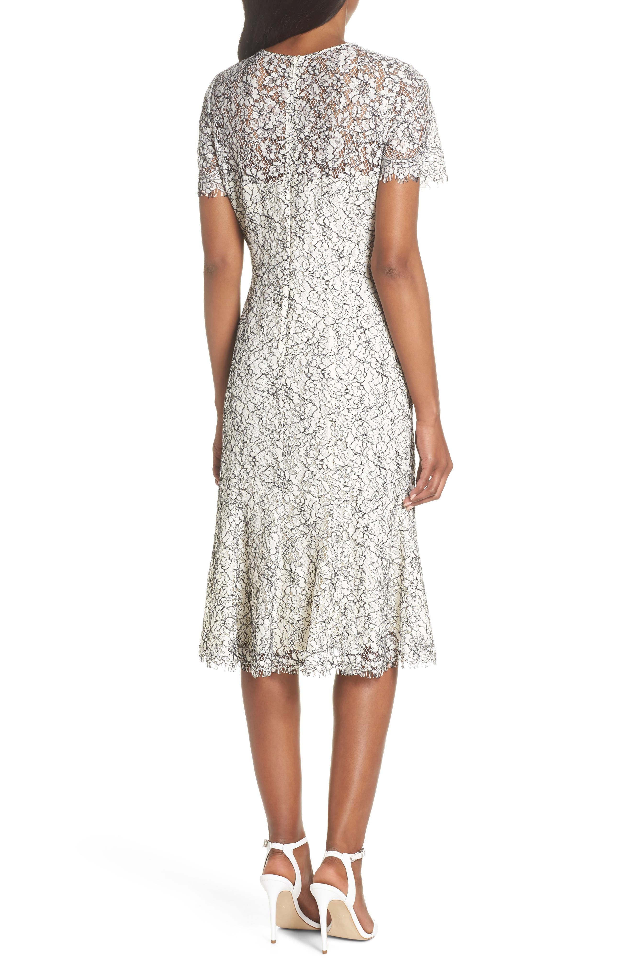 Two-Tone Lace A-Line Dress,                             Alternate thumbnail 2, color,                             Ivory/ Black