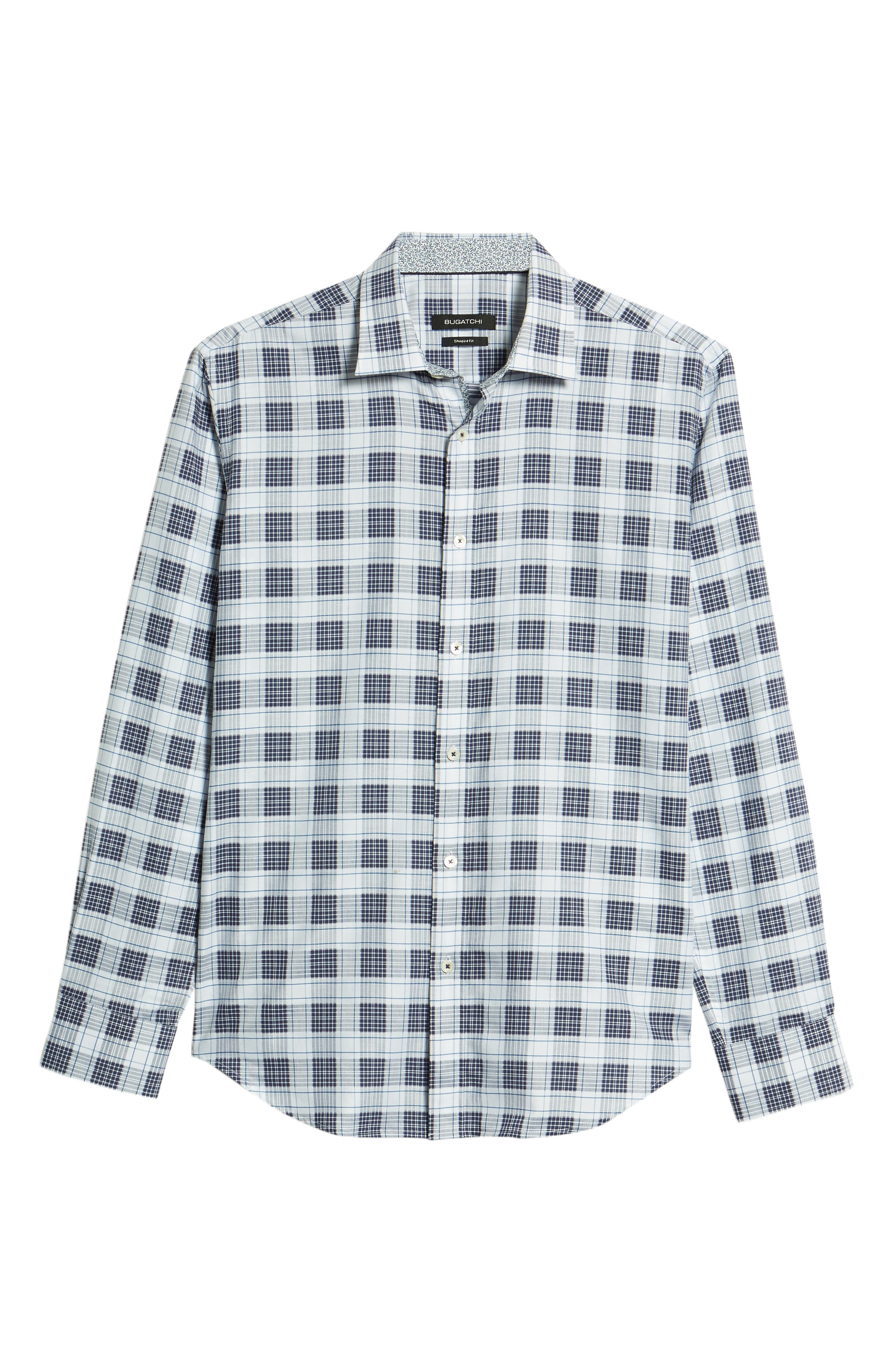 Shaped Fit Plaid Sport Shirt,                             Alternate thumbnail 6, color,                             Navy