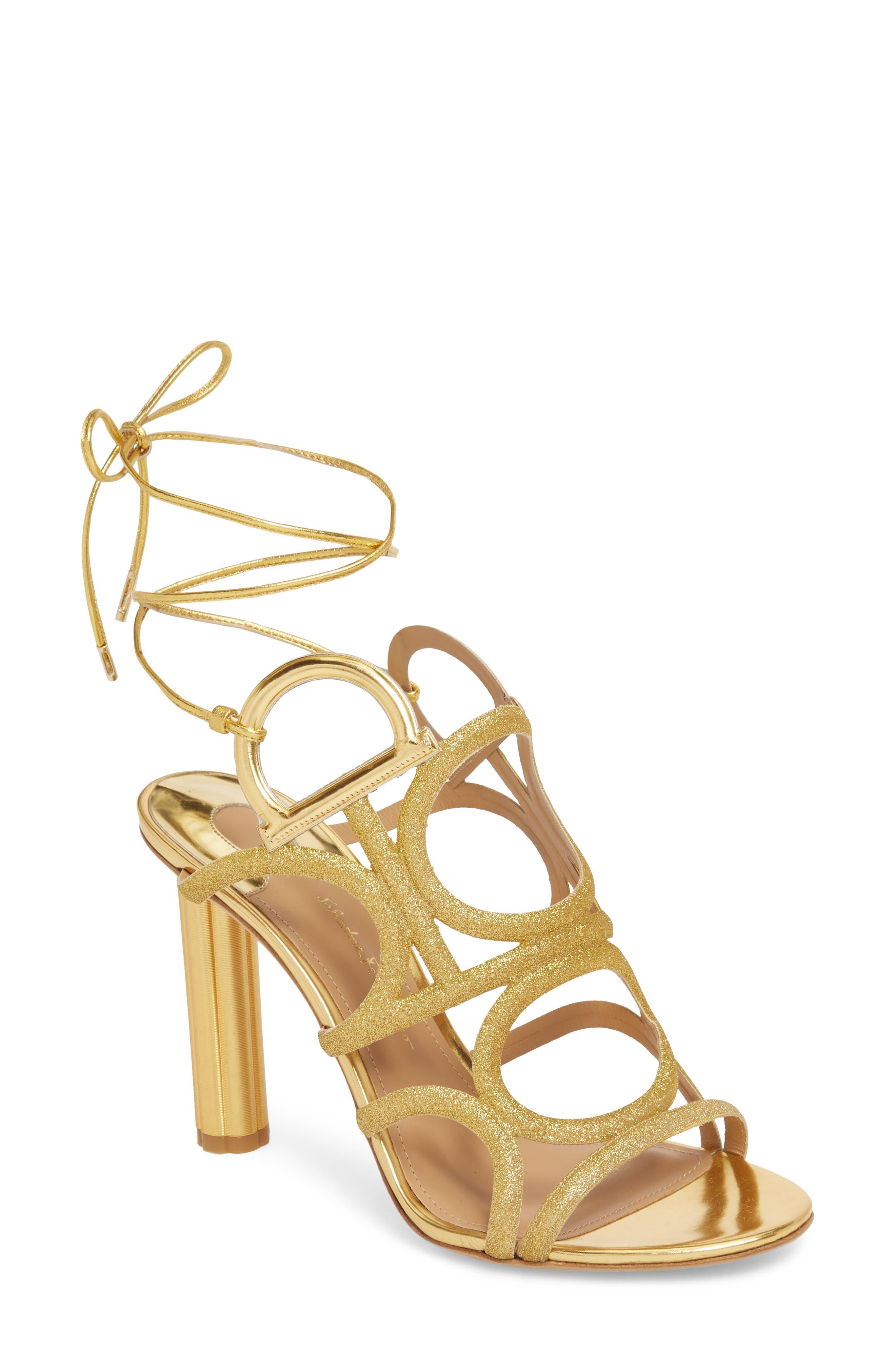 Vinci Lace-Up Sandal,                         Main,                         color, Gold