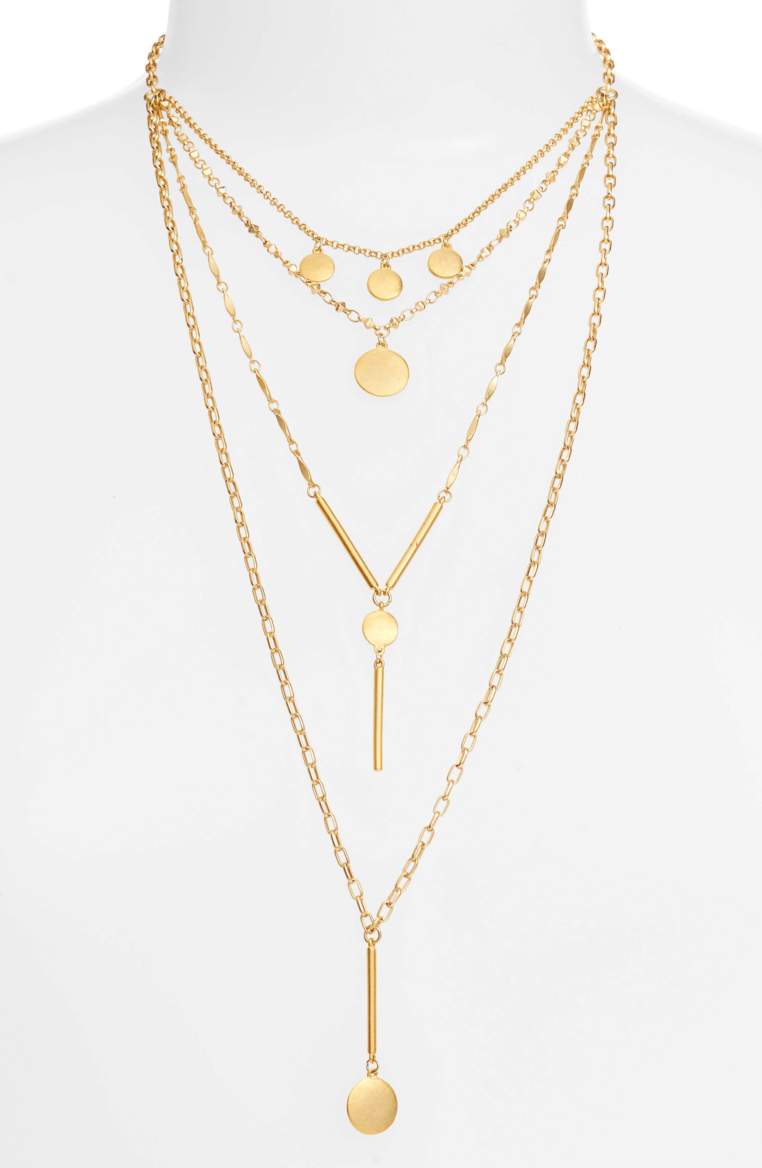 Rebecca Minkoff Circle & Bar Droplet Layered Necklace