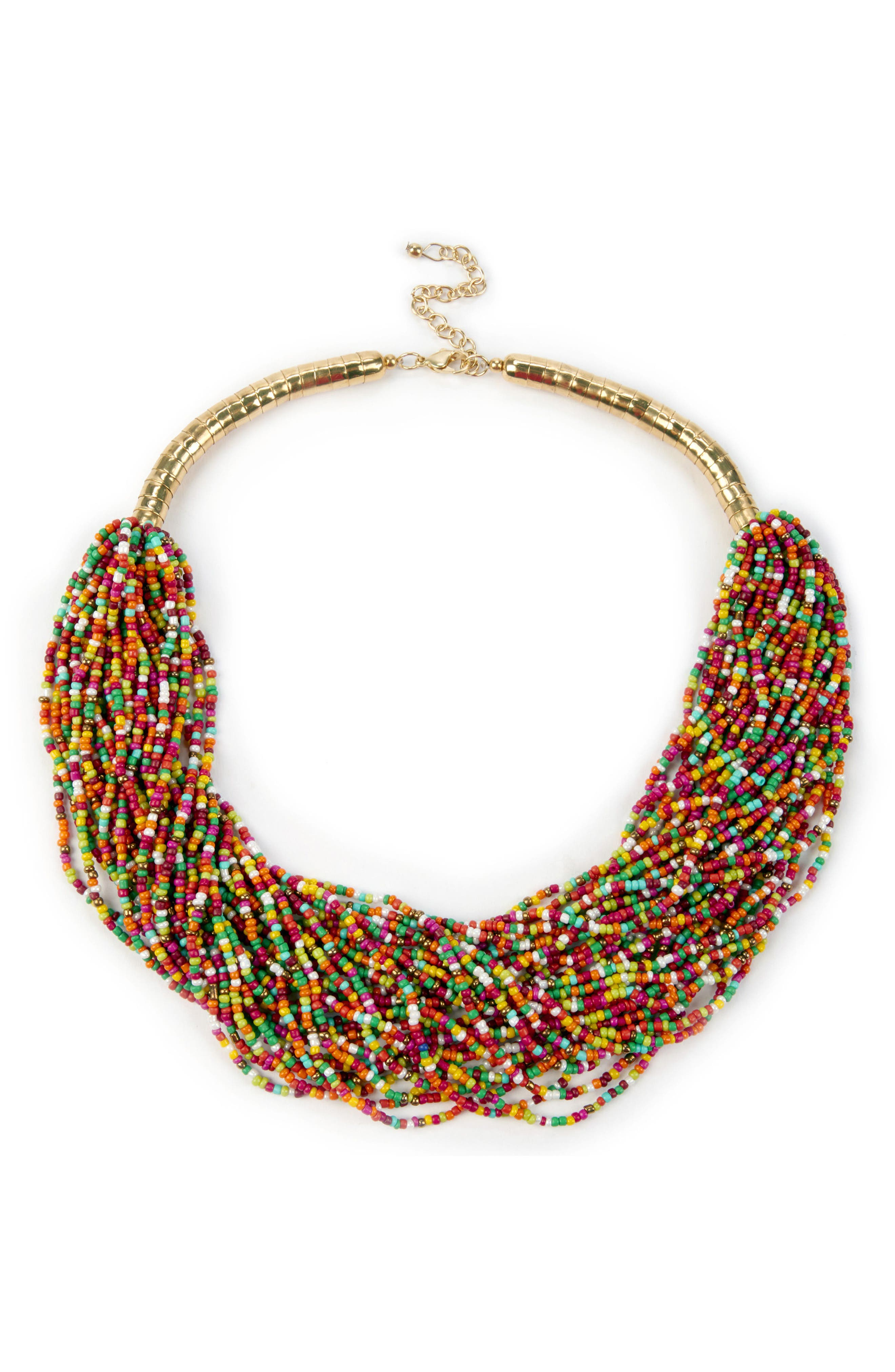Sole Society Bohemian Multistrand Beaded Necklace