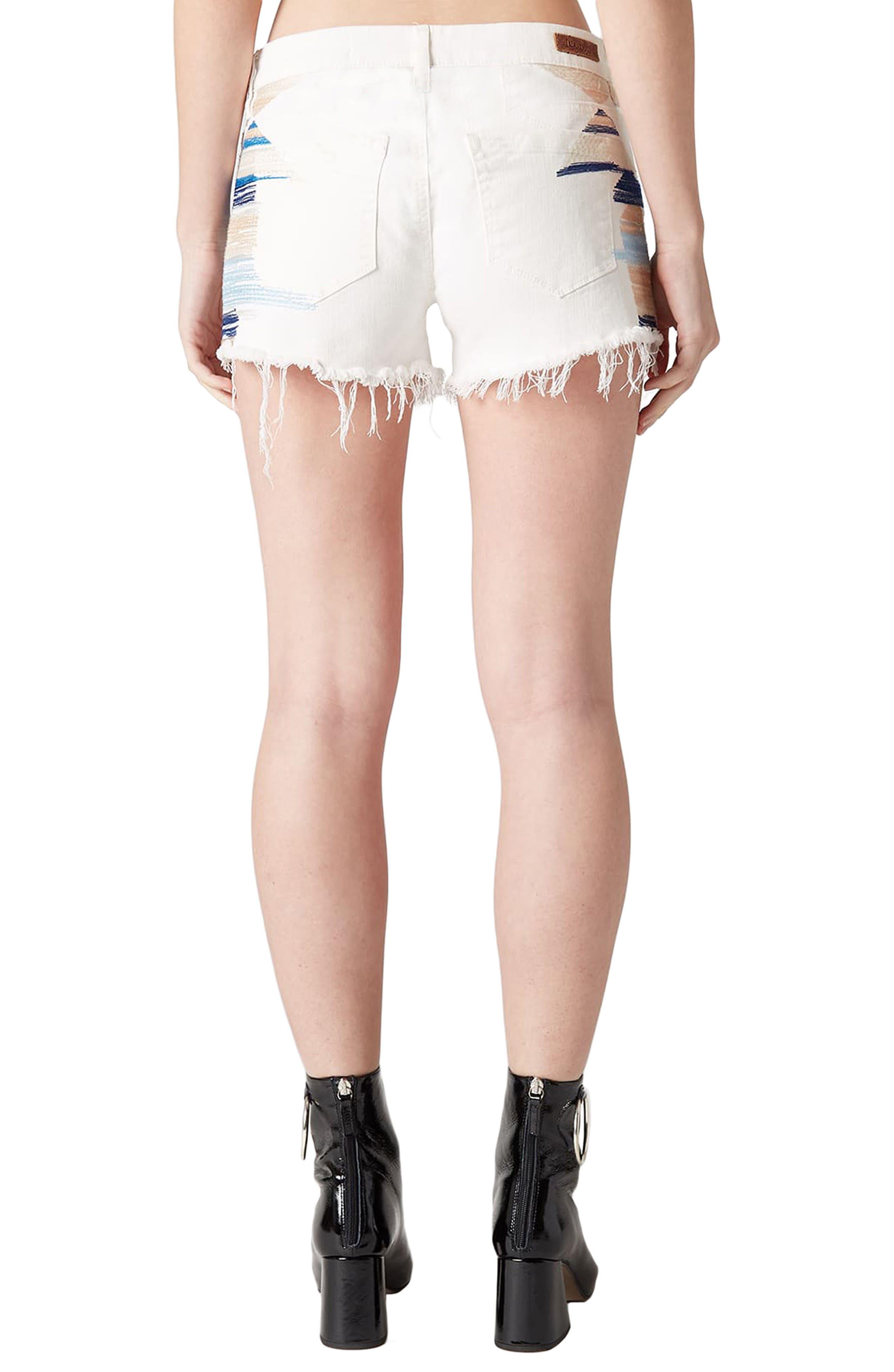 Best Coast Embroidered Denim Shorts,                             Alternate thumbnail 4, color,                             Natural